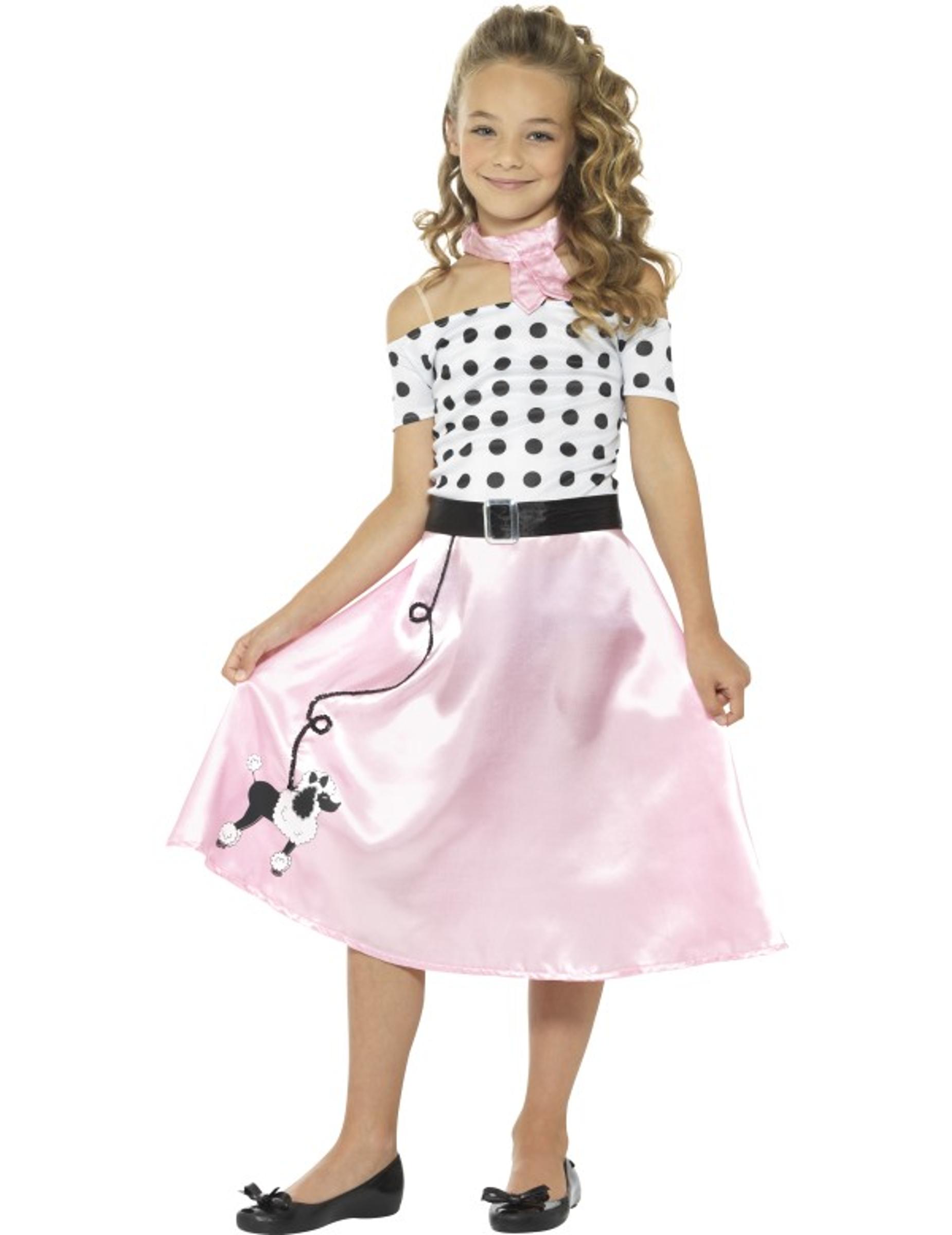50er-Jahre Mädchen-Kostüm Tanzkleid rosa-weiss-schwarz - 134/146 (7-9 Jahre) 162738