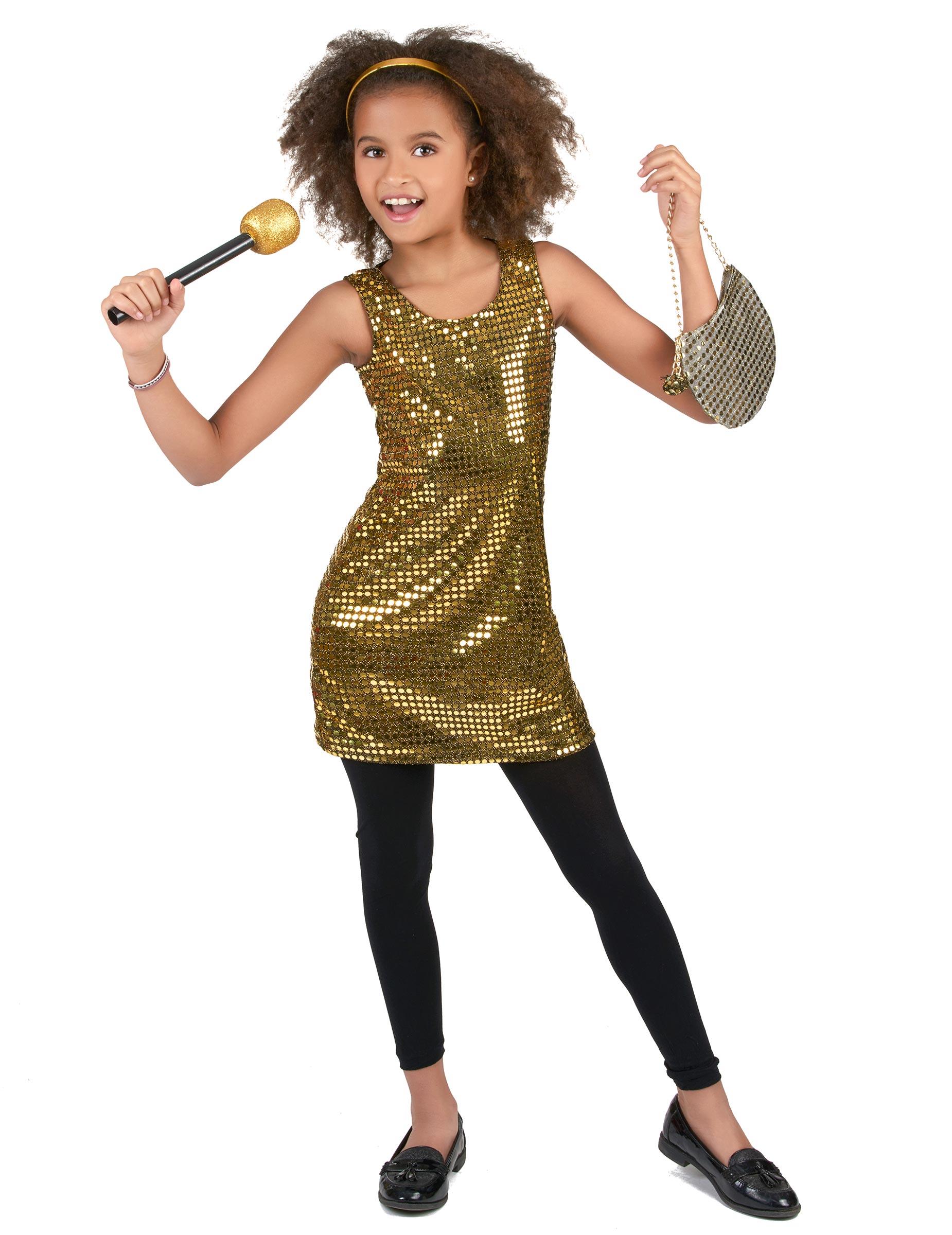 *70er-Jahre Disco Kostüm für Mädchen Pailletten gold*