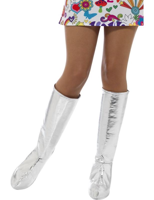 #Stiefelstulpen für Damen Kostüm-Accessoire silber#