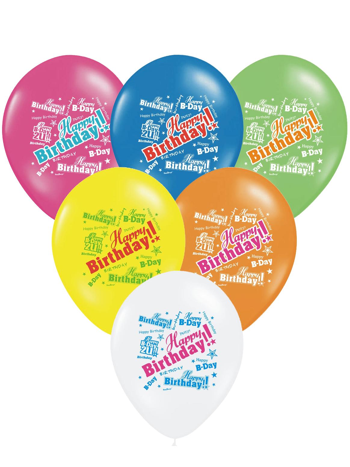 6 Bunte Luftballons Alles Gute Zum Geburtstag Partydeko Und