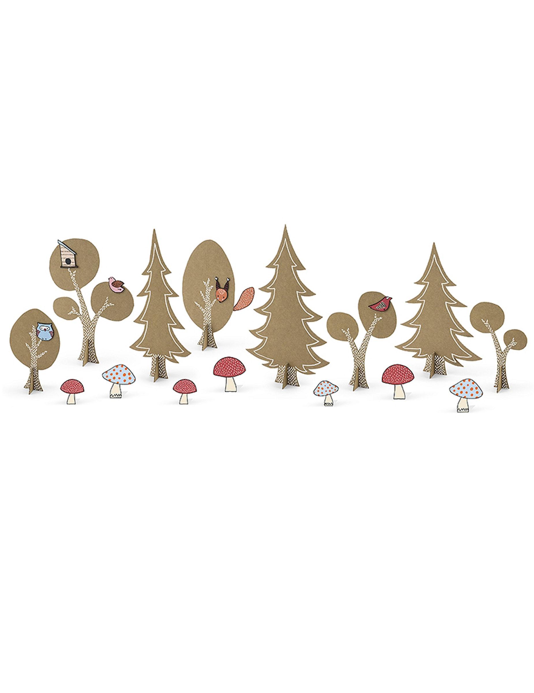 Wald-Tischdekoration 14-teilig braun-rosa-weiss 164946