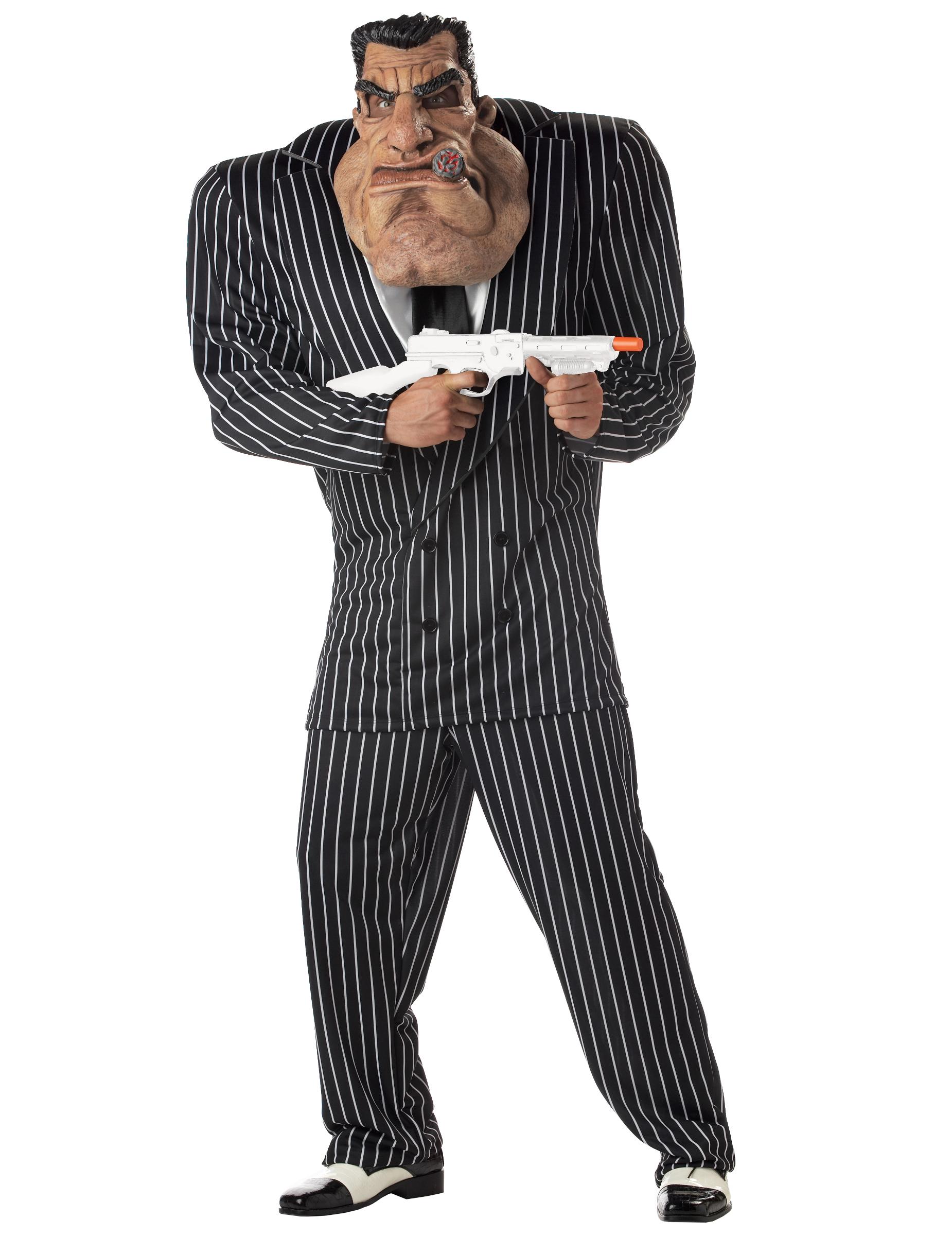 Muskulöses Mafiosi-Kostüm für Herren schwarz-weiss - L 197780