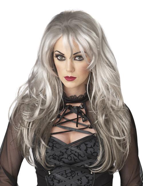 Perücke Frau lange graue Haare 206158
