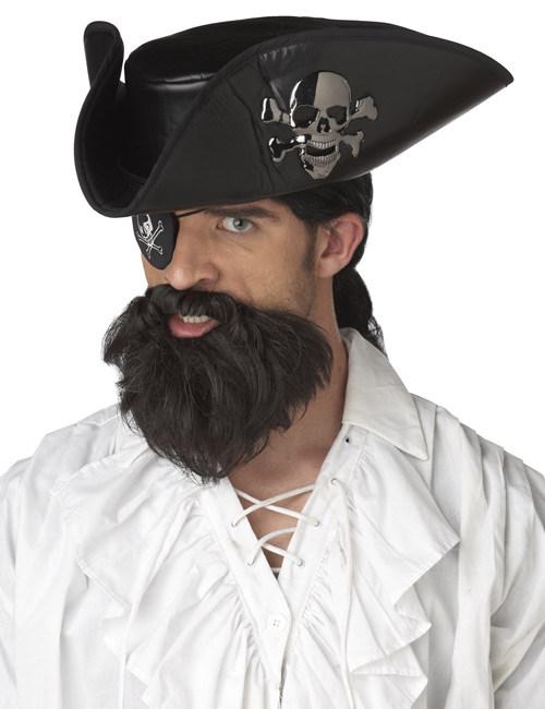 #Piraten-Bart Zubehör für Karneval Kapitäns-Accessoire dunkelbraun#