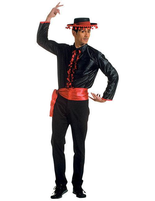 Flamenco Kostüm Hemd mit schwarz rotem Gürtel: Kostüme für