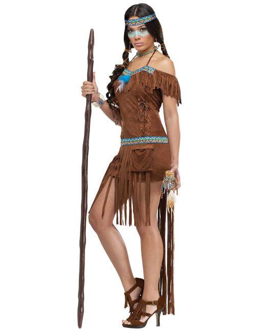 Indianerinnen Kostum Fur Damen Braun Kostume Fur Erwachsene Und