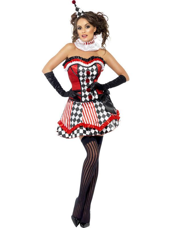 verr cktes clownkost m f r damen zirkus rot weiss schwarz. Black Bedroom Furniture Sets. Home Design Ideas