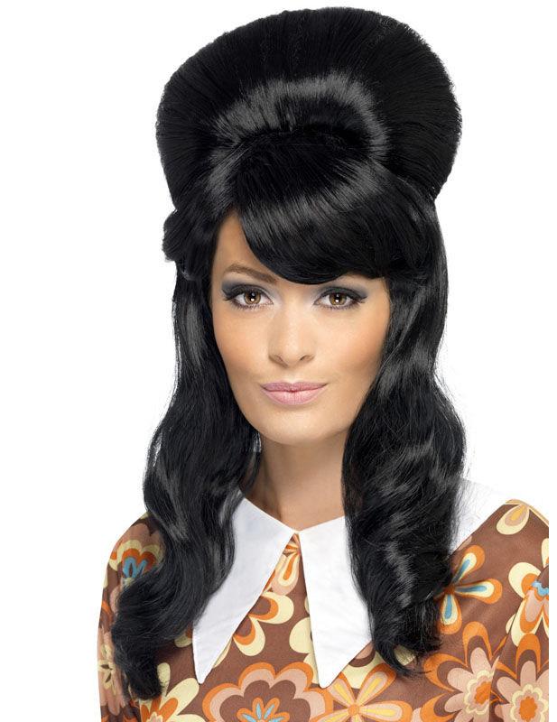 Lange schwarze Glamour-Perücke 70er für Damen 236184