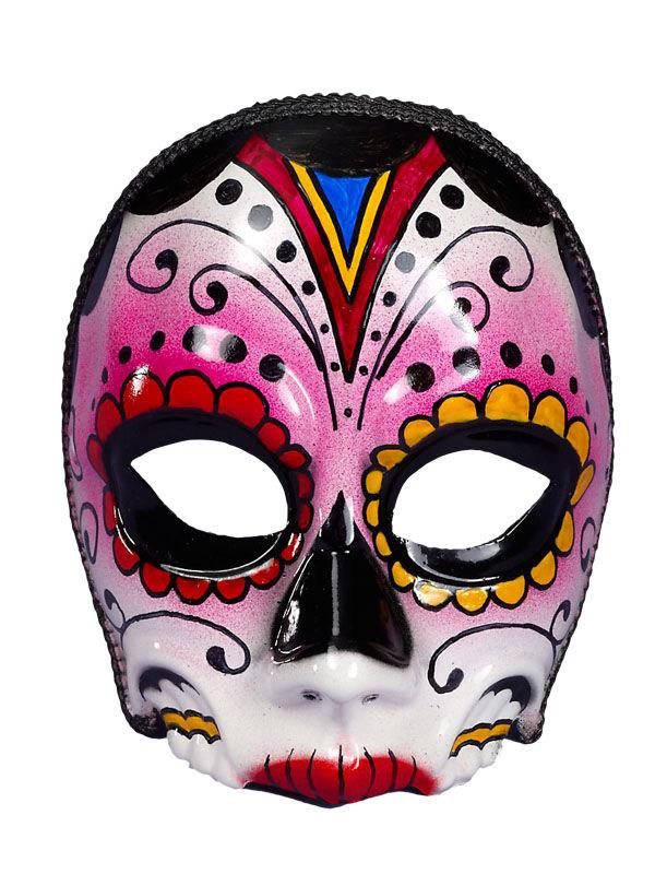 Tag der Toten-Schädelmaske für Damen Halloweenmaske bunt 244928