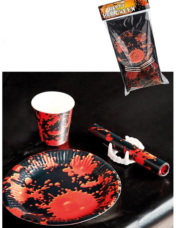 Halloween Tischdeko Set Schwarz Rot Partydeko Und Gunstige