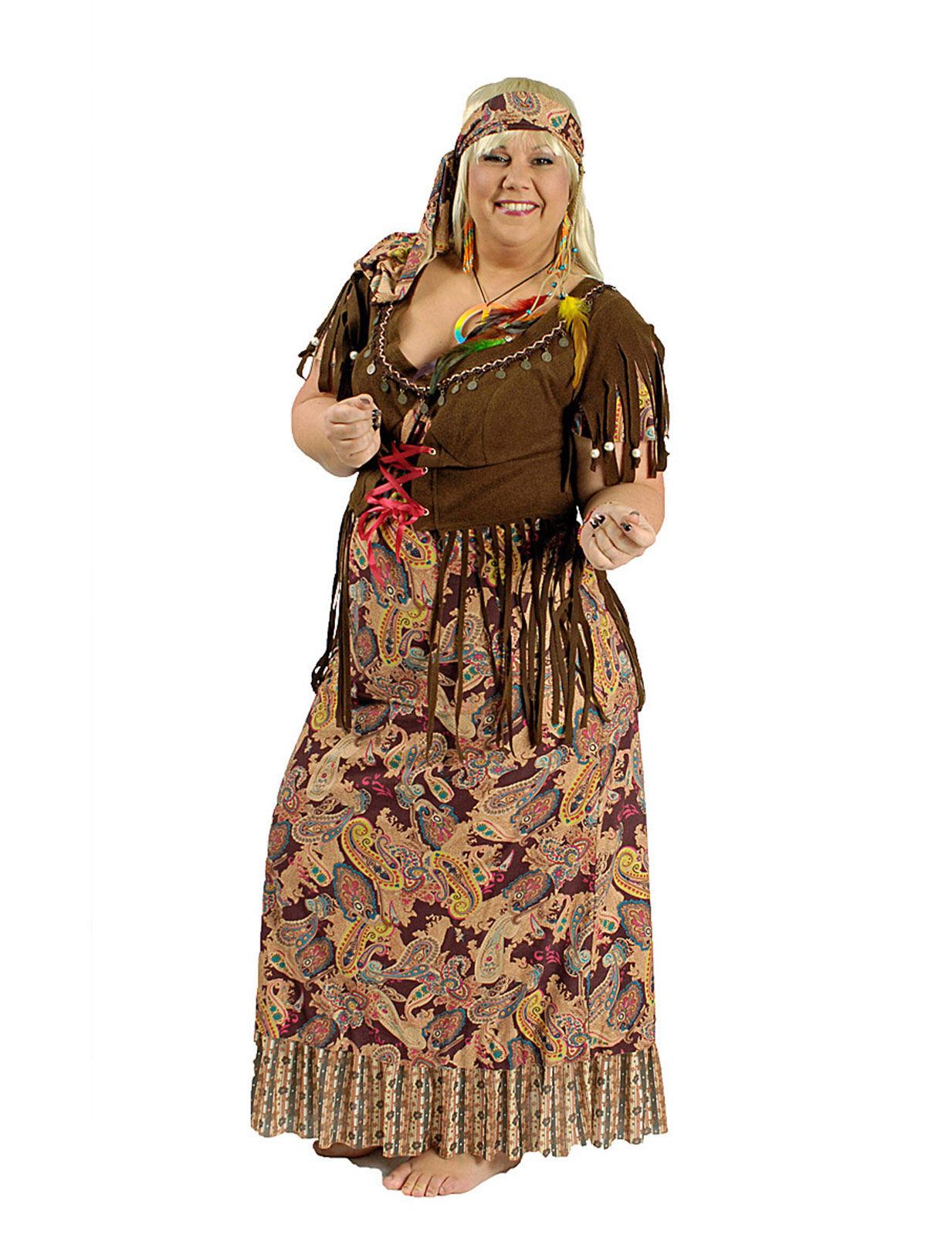 c6360f74ca0ea 60er-Jahre Hippie-Verkleidung Damenkostüm braun-bunt  Kostüme für ...