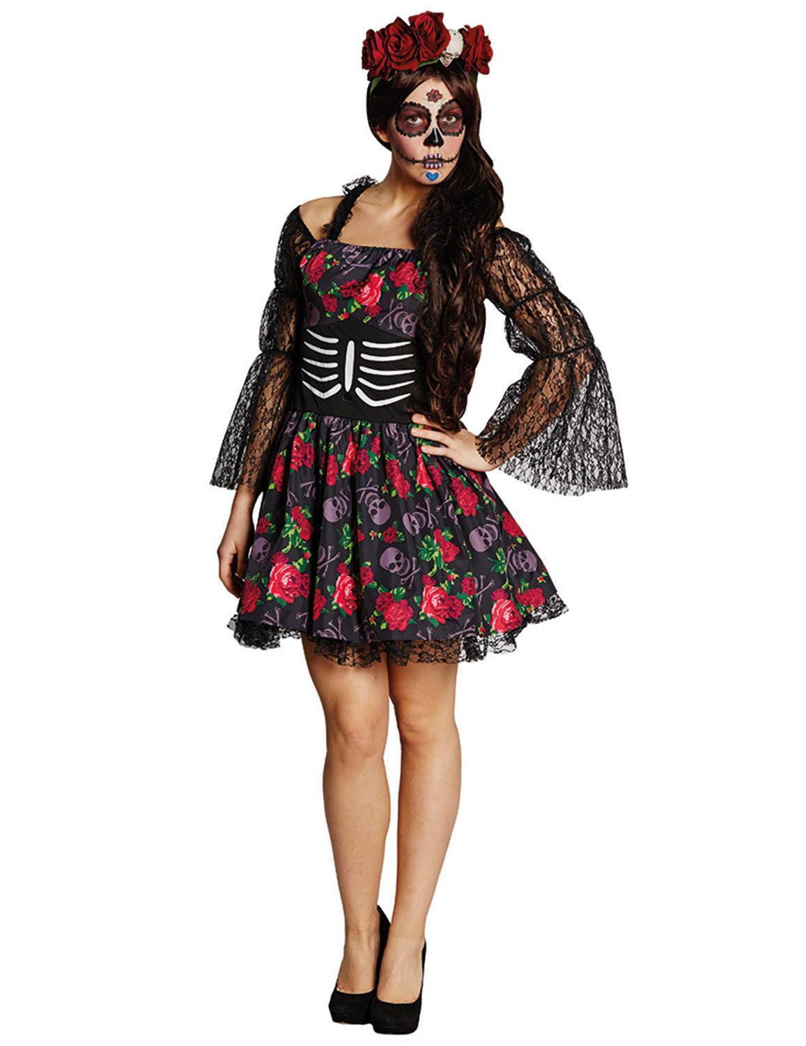 tag der toten skelett halloween damenkost m kost me f r. Black Bedroom Furniture Sets. Home Design Ideas
