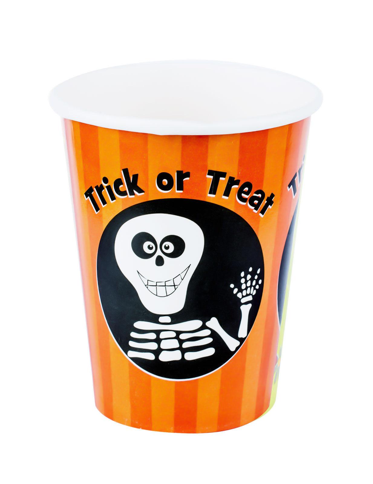 s e trick or treat pappbecher skelett halloween 8 st ck orange schwarz 230ml partydeko und. Black Bedroom Furniture Sets. Home Design Ideas