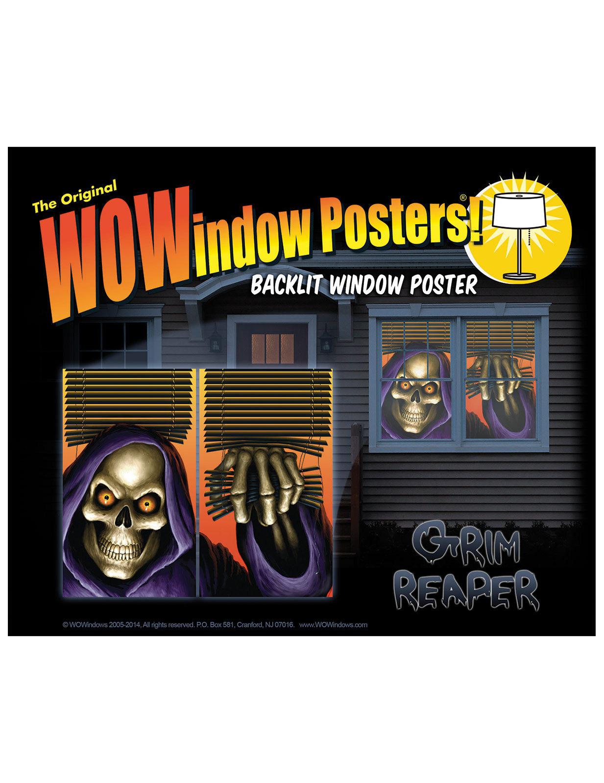 Hintergrund-beleuchtete Sensenmann-Fensterdeko für Halloween bunt 36 x 60 cm 257678