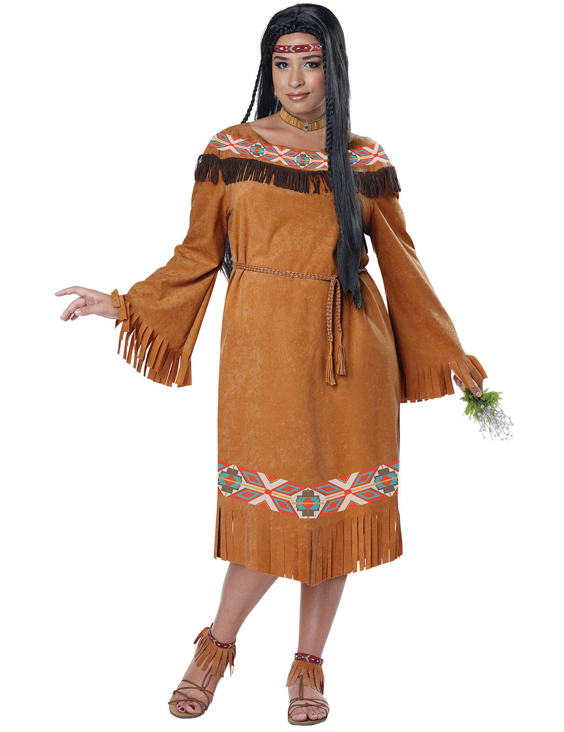 indianer kost m braun plus size damen kost me f r. Black Bedroom Furniture Sets. Home Design Ideas