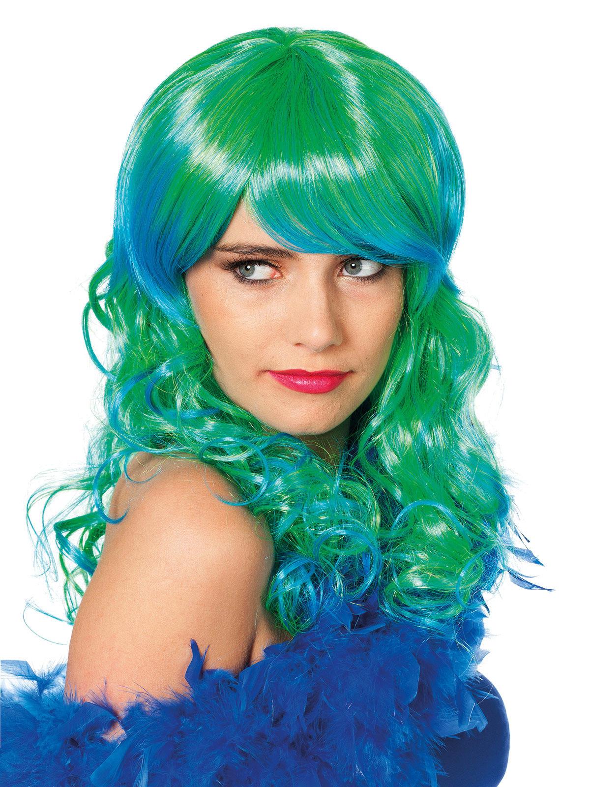 Perücke Der Langen Haare Grün Und Blau Meerjungfrau Damen Perücken