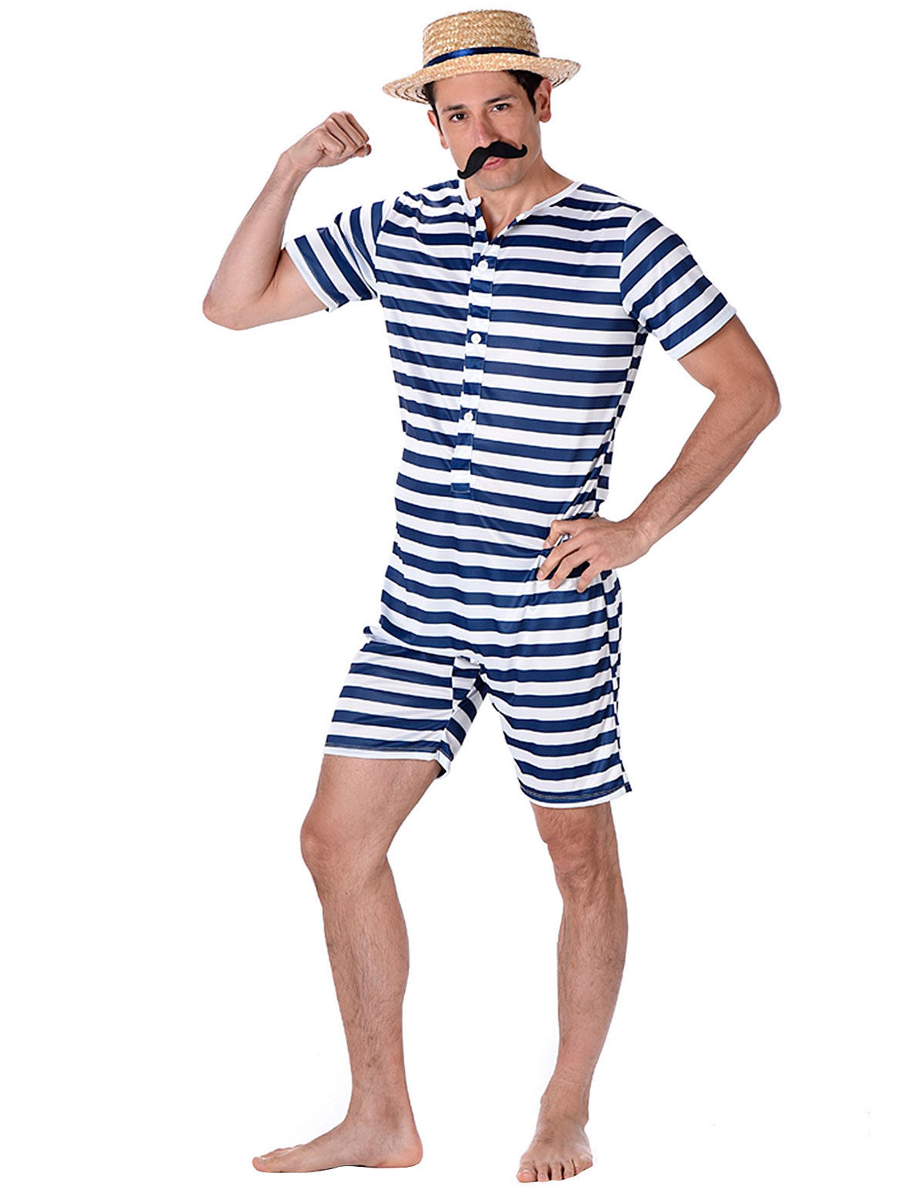 Badeanzug Retro Blau Und Weiß Für Herren Kostüme Für Erwachseneund