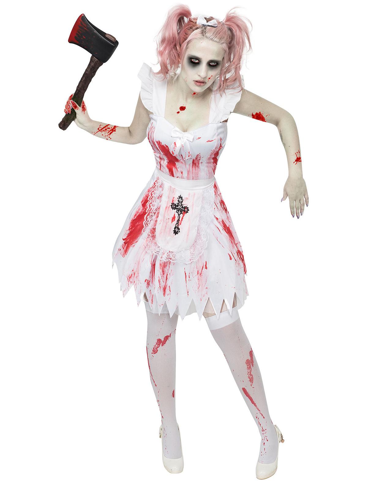 Zombie Kostüm Brautjungfer Halloween Damenkostüm Weiss Rot Schwarz