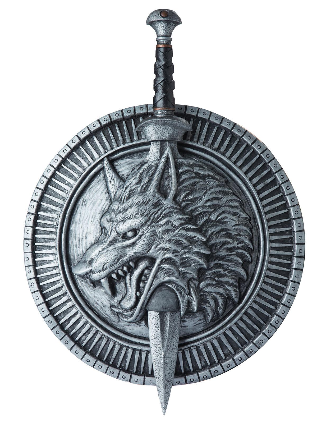 Schild mit Schwerthalter und Schwert grau 264429
