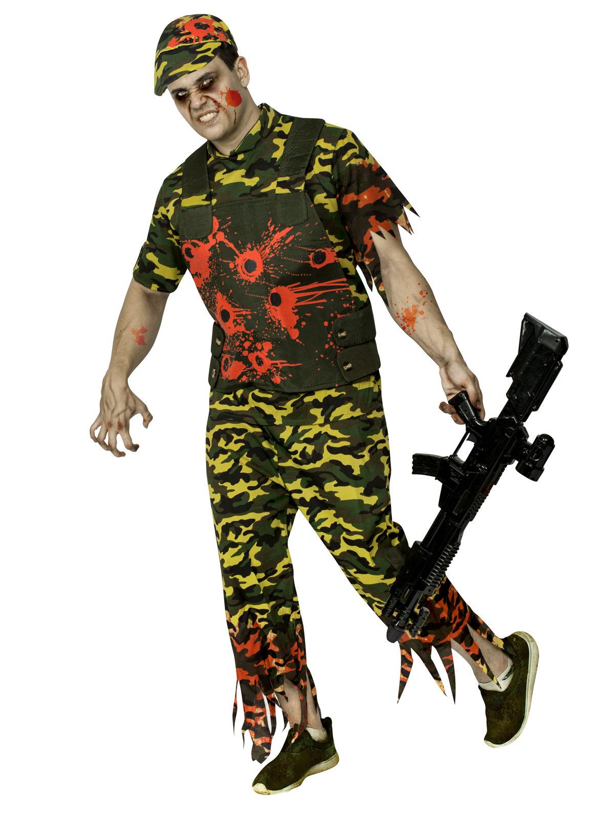 schauriges zombie soldaten kost m f r herren camouflage look kost me f r erwachsene und. Black Bedroom Furniture Sets. Home Design Ideas
