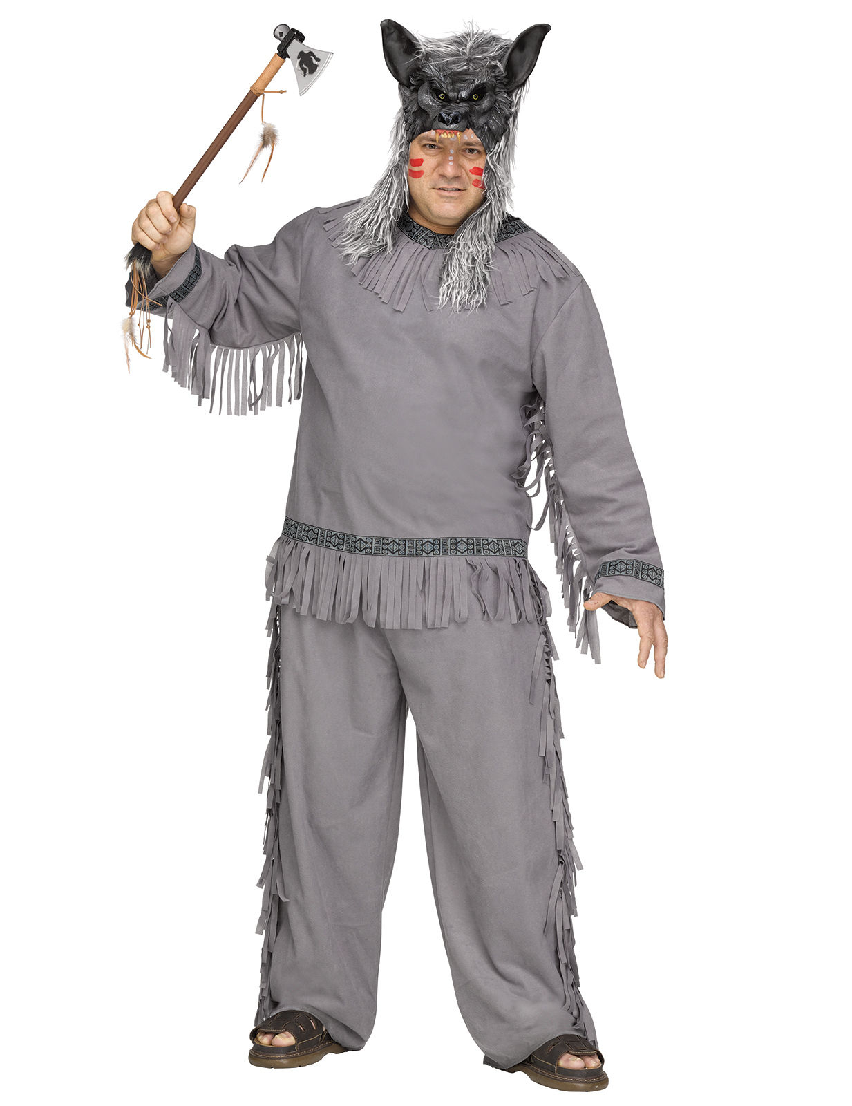 indianer werwolf herrenkost m grau kost me f r erwachsene und g nstige faschingskost me vegaoo. Black Bedroom Furniture Sets. Home Design Ideas