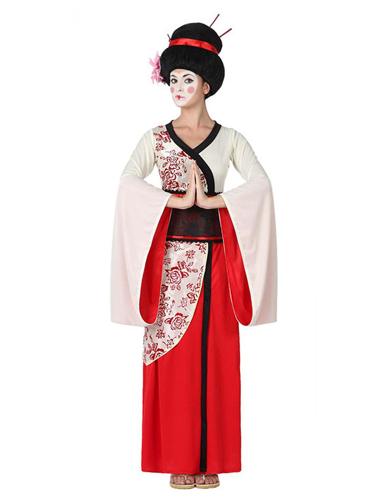 geisha damenkost m rot weiss schwarz kost me f r. Black Bedroom Furniture Sets. Home Design Ideas