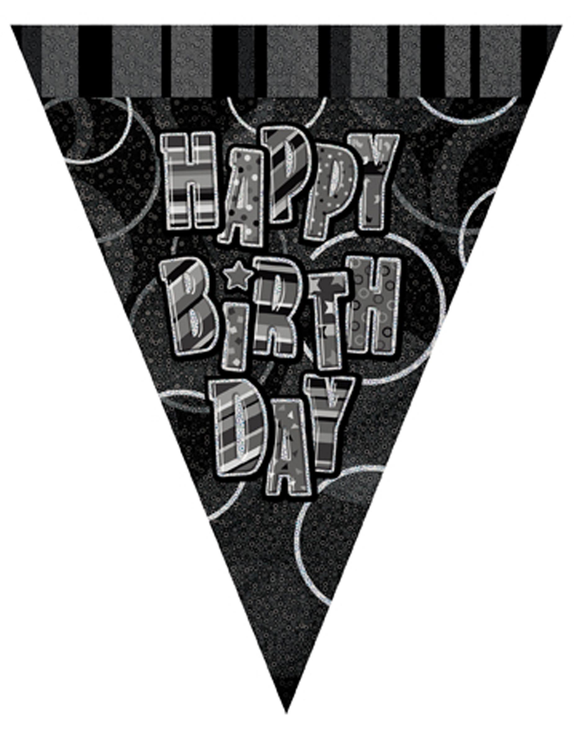 Girlande Mit Schwarzen Wimpeln Happy Birthday 2 74m Partydeko Und