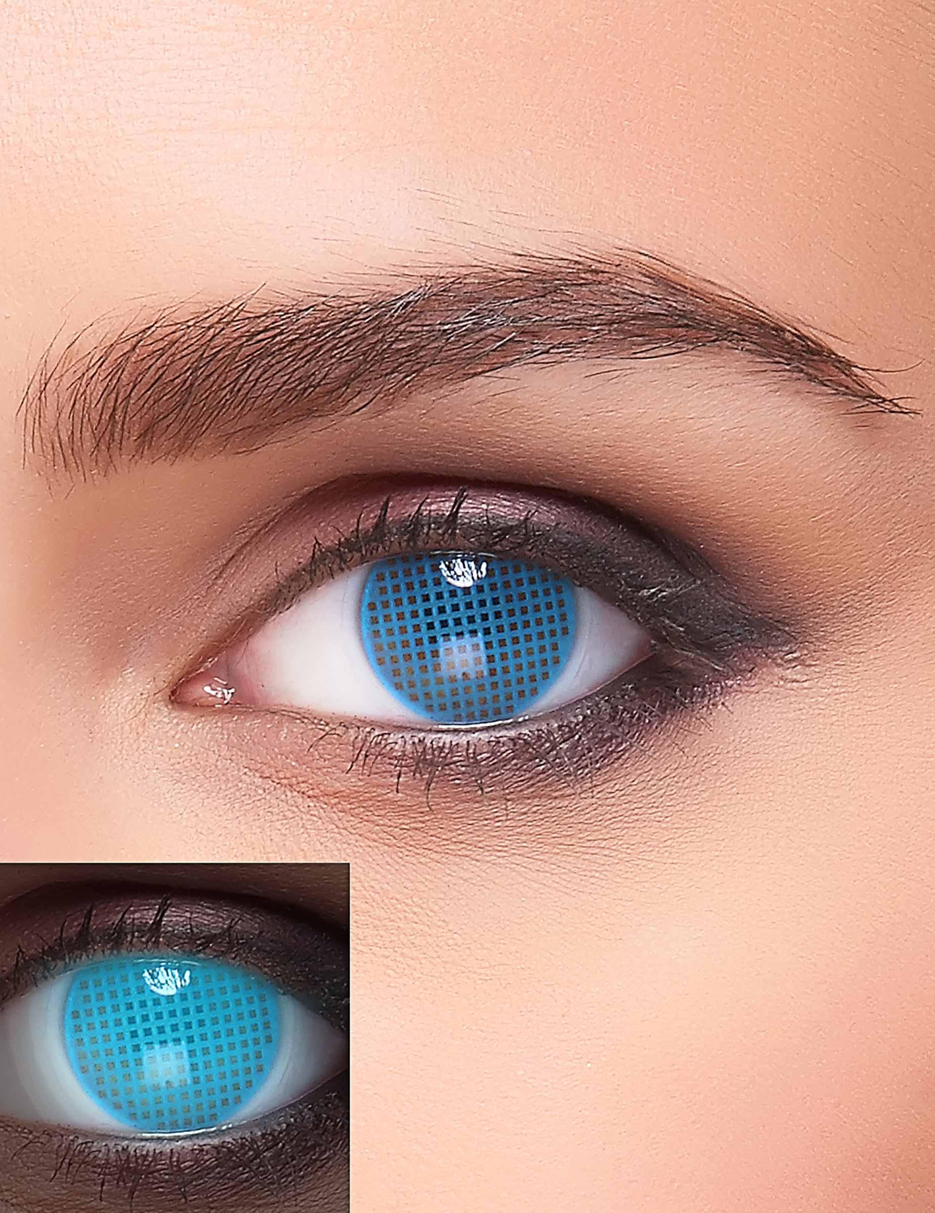 uv kontaktlinsen phantasie f r erwachsene blau schminke. Black Bedroom Furniture Sets. Home Design Ideas