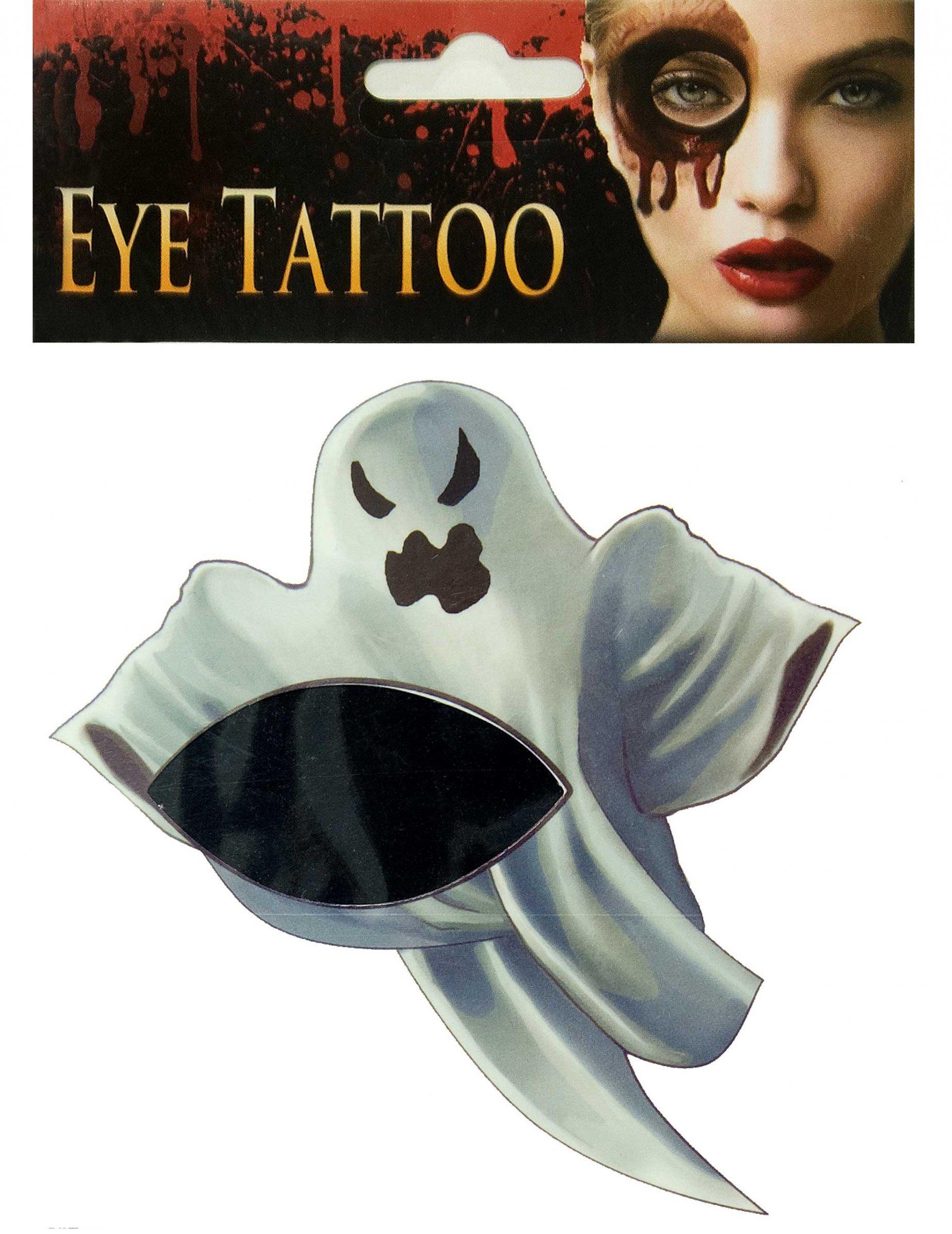 Gespenstisches Tattoo Halloween Make Up Geist Grau Schminke Und