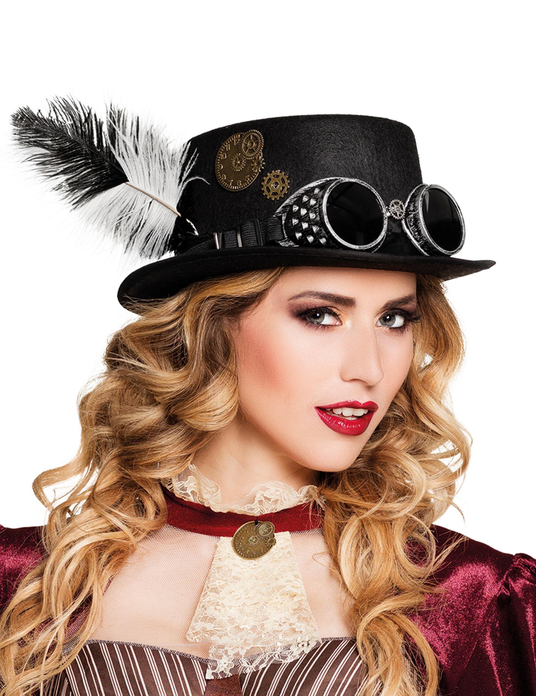 #Steampunk Hut mit Federn für Erwachsene#