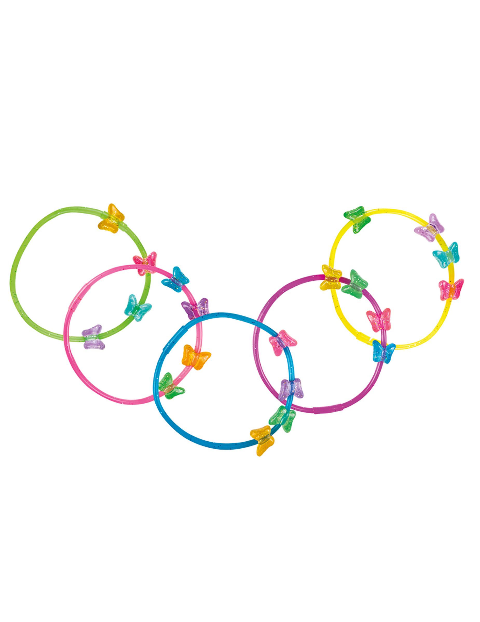 *Zauberhafte Schmetterlings-Armbänder 5 Stück bunt*