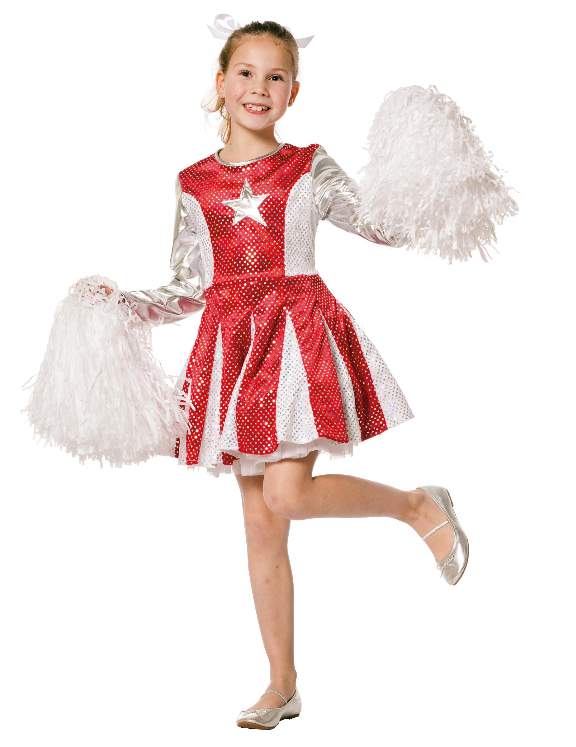 cheerleader kleid f r m dchen rot silber kost me f r kinder und g nstige faschingskost me vegaoo. Black Bedroom Furniture Sets. Home Design Ideas
