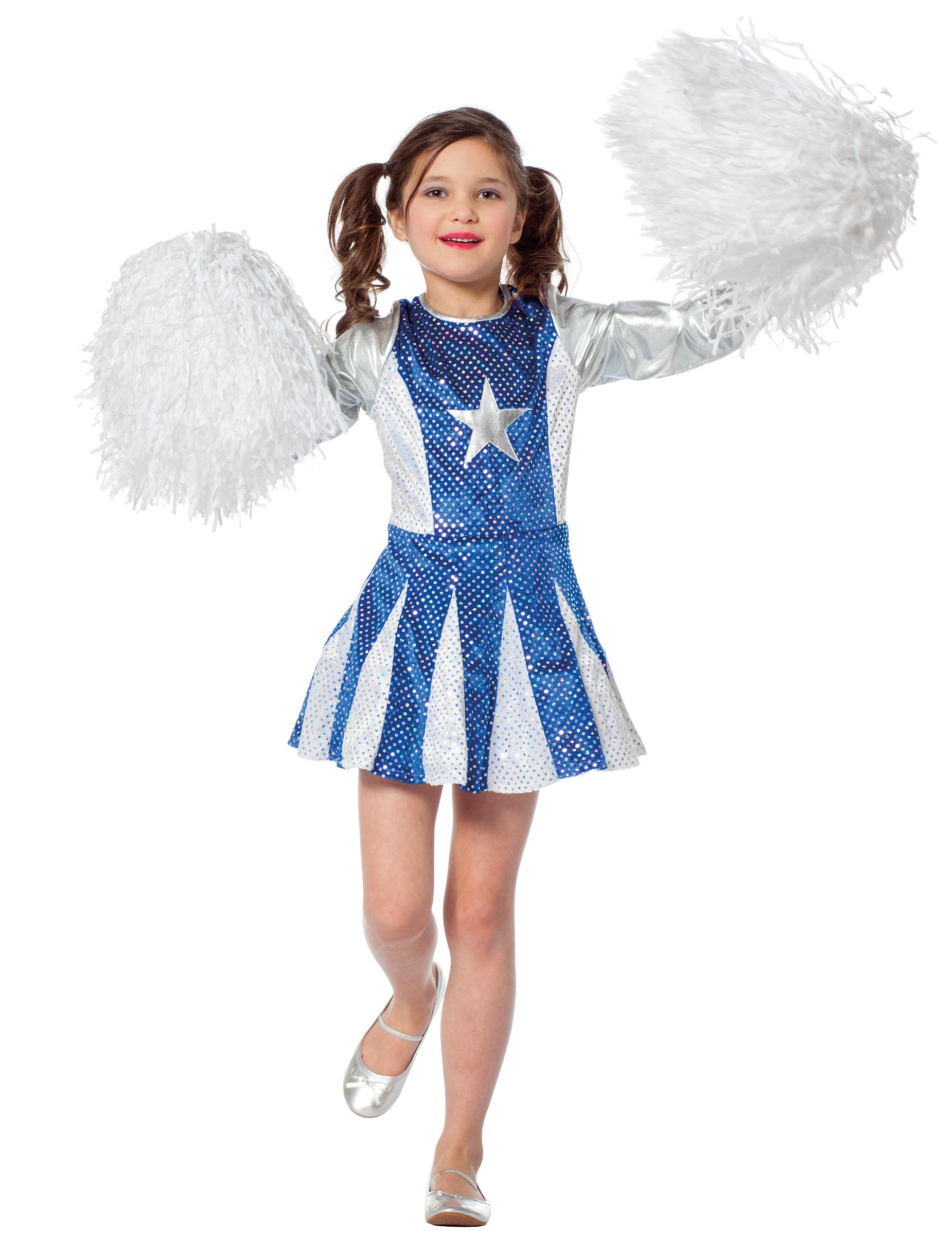 cheerleader-kleid für mädchen blau-silber: kostüme für