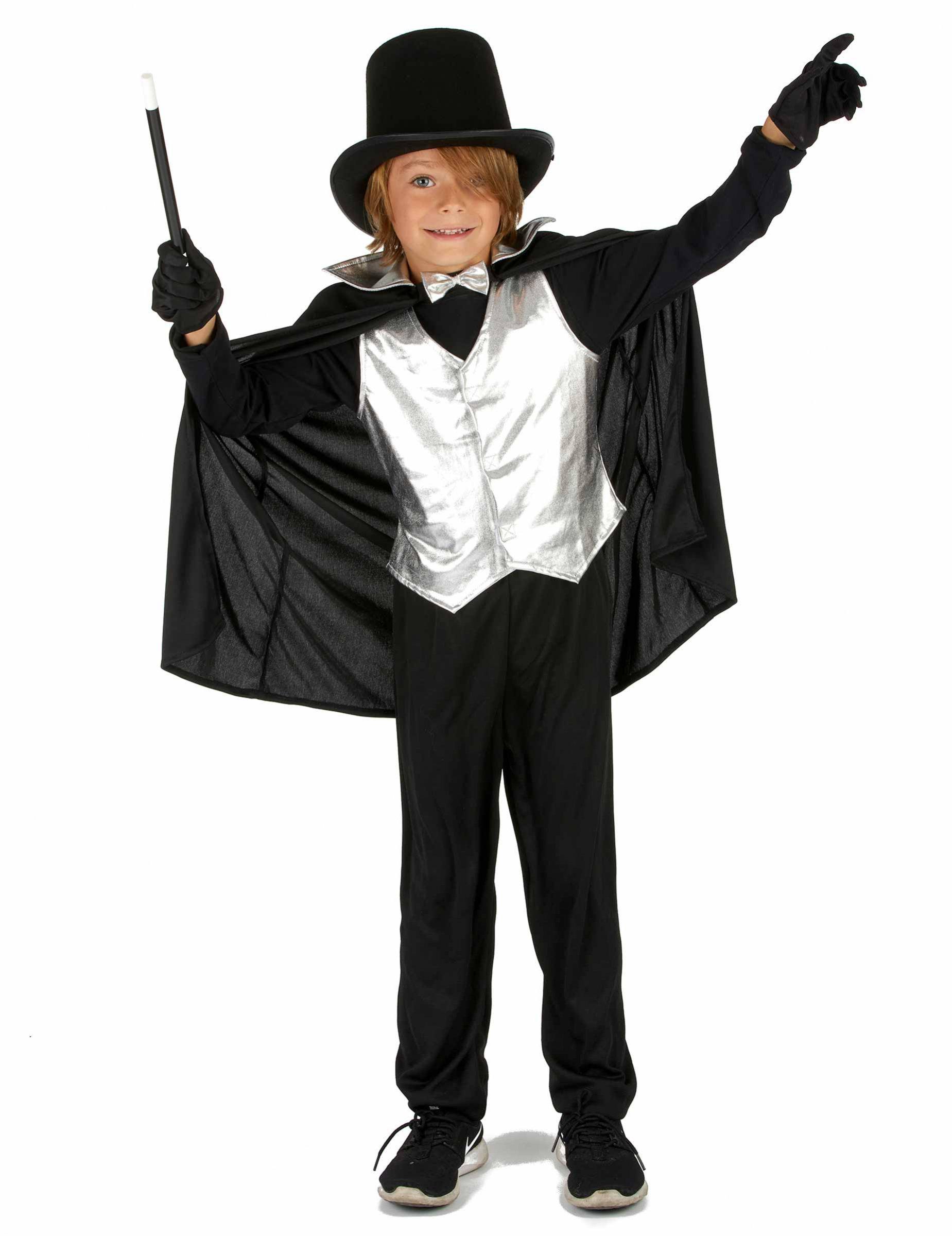#Magier Kinderkostüm silber-schwarz#