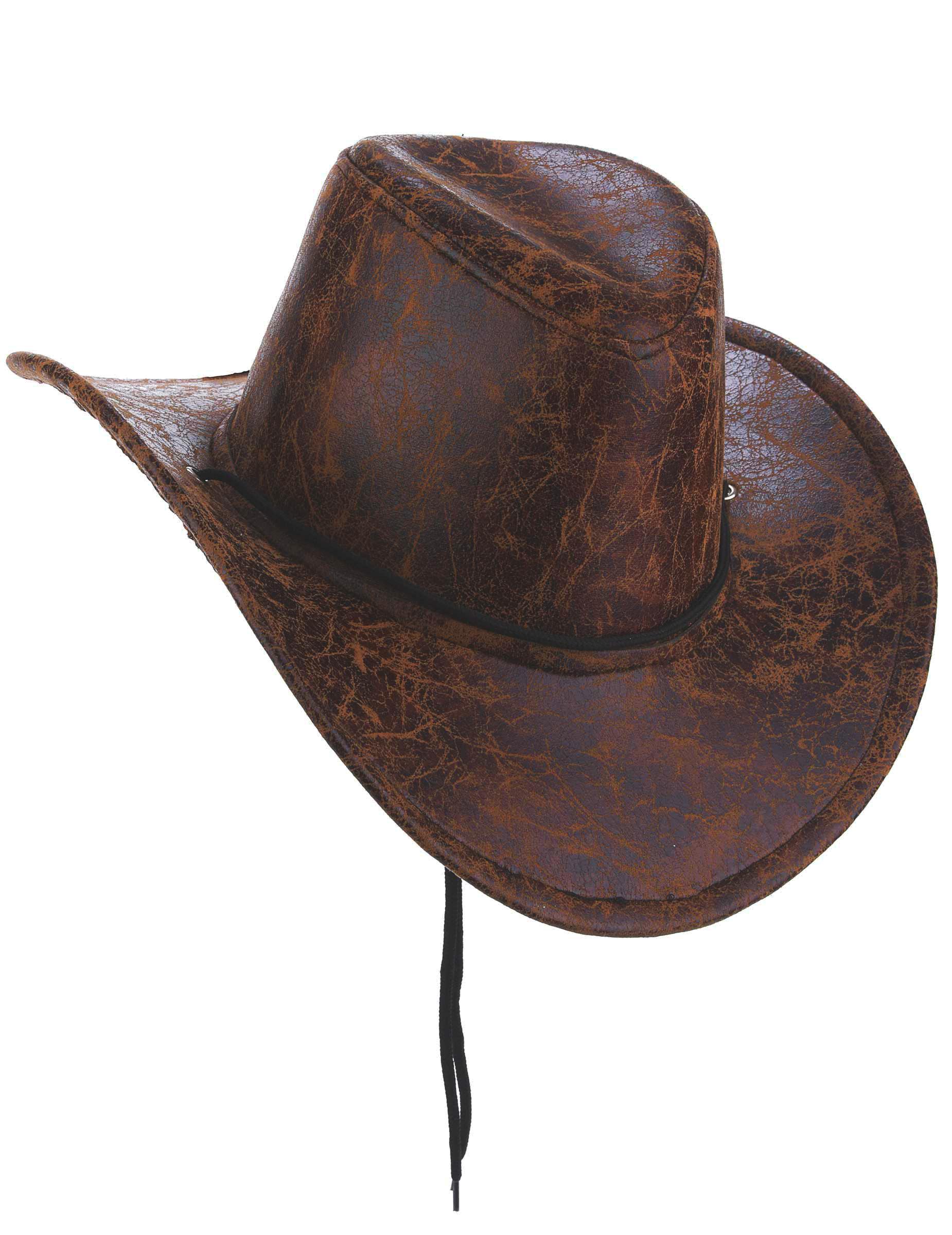 #Hut Cowboy braun Kunstleder Erwachsene#