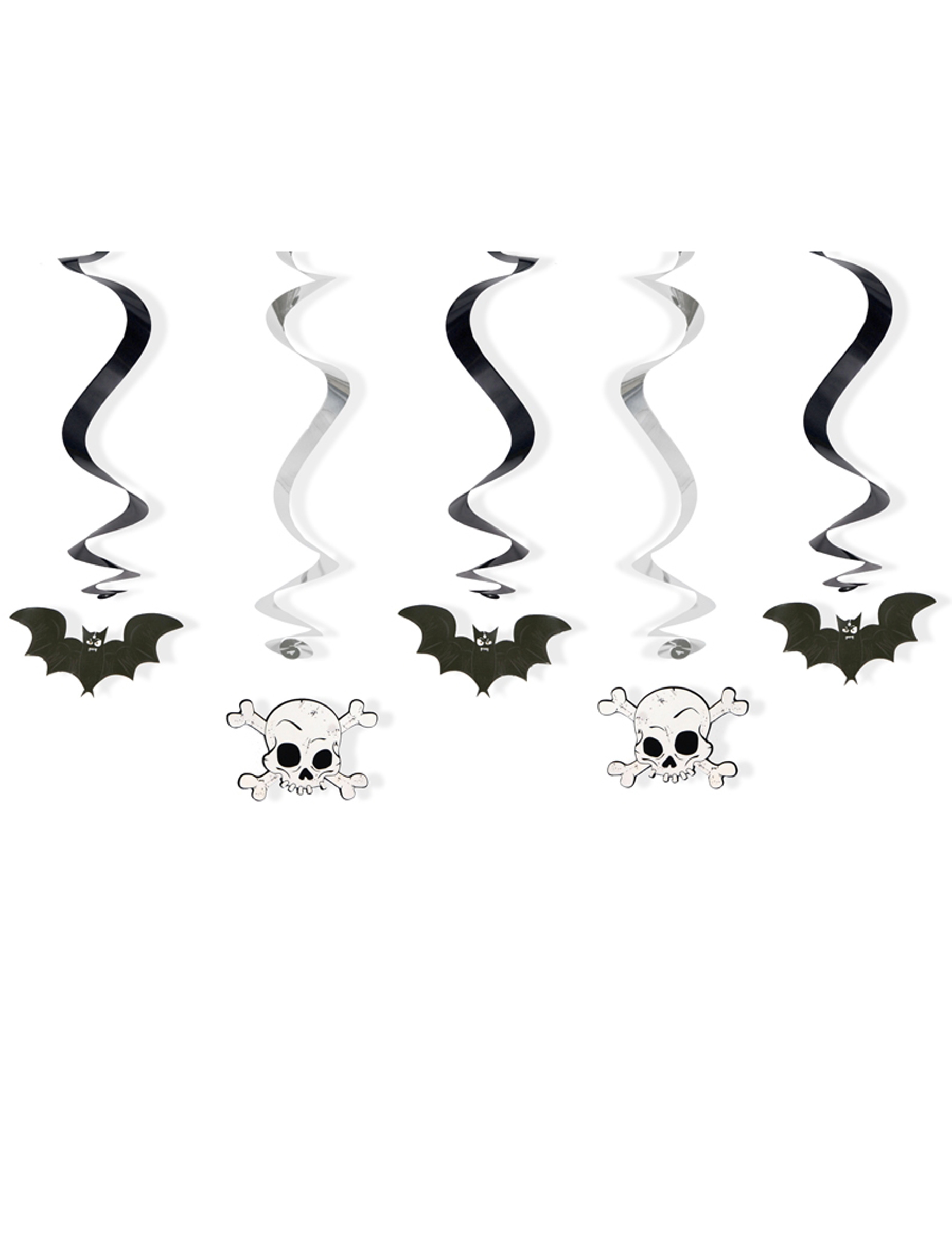 *Dekorations-Spiralen für Halloween 5 Stück schwarz-weiss 60cm*