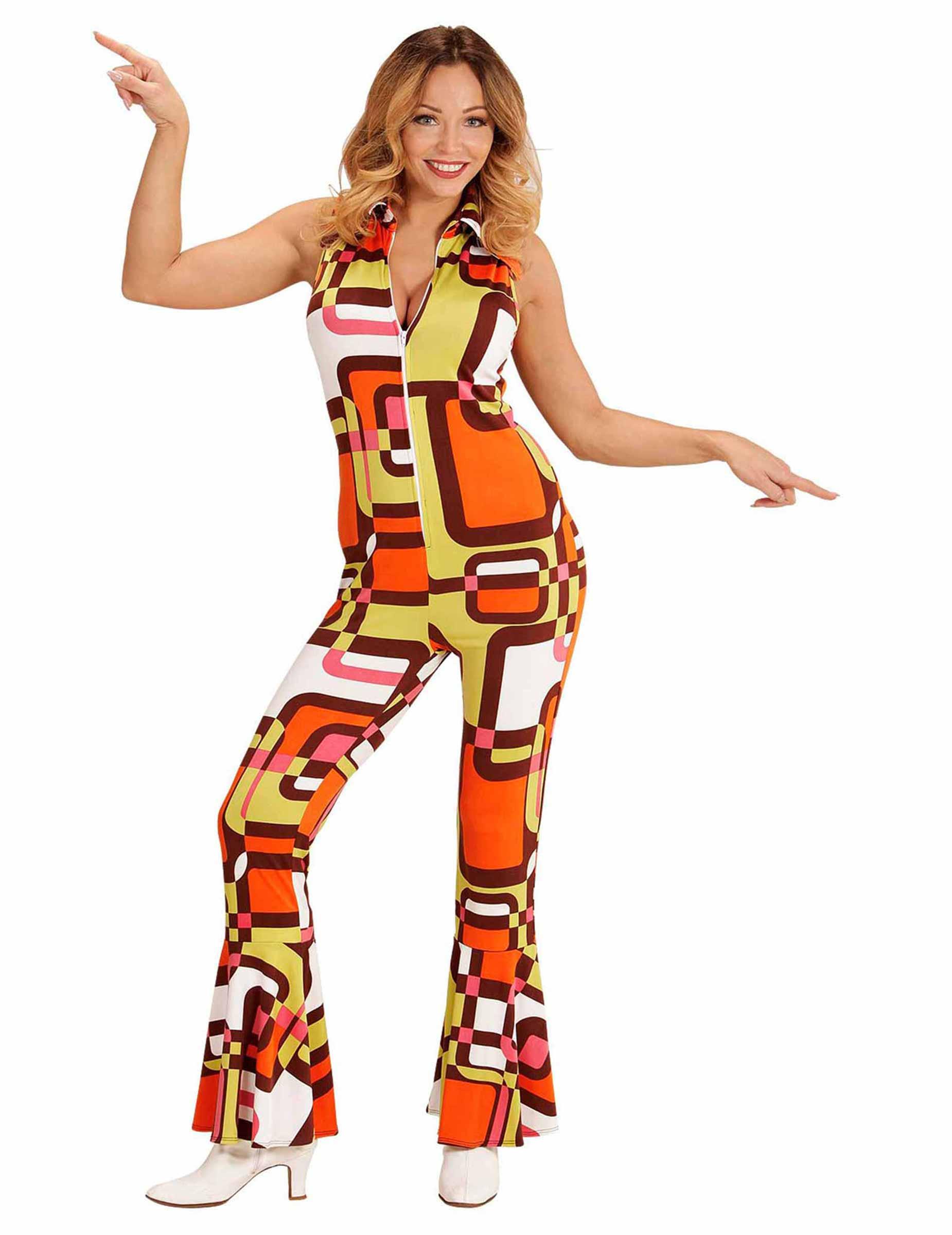 649ff33cc331d1 70er Jahre Overall mit Retro-Motiv für Damen bunt  Kostüme für ...