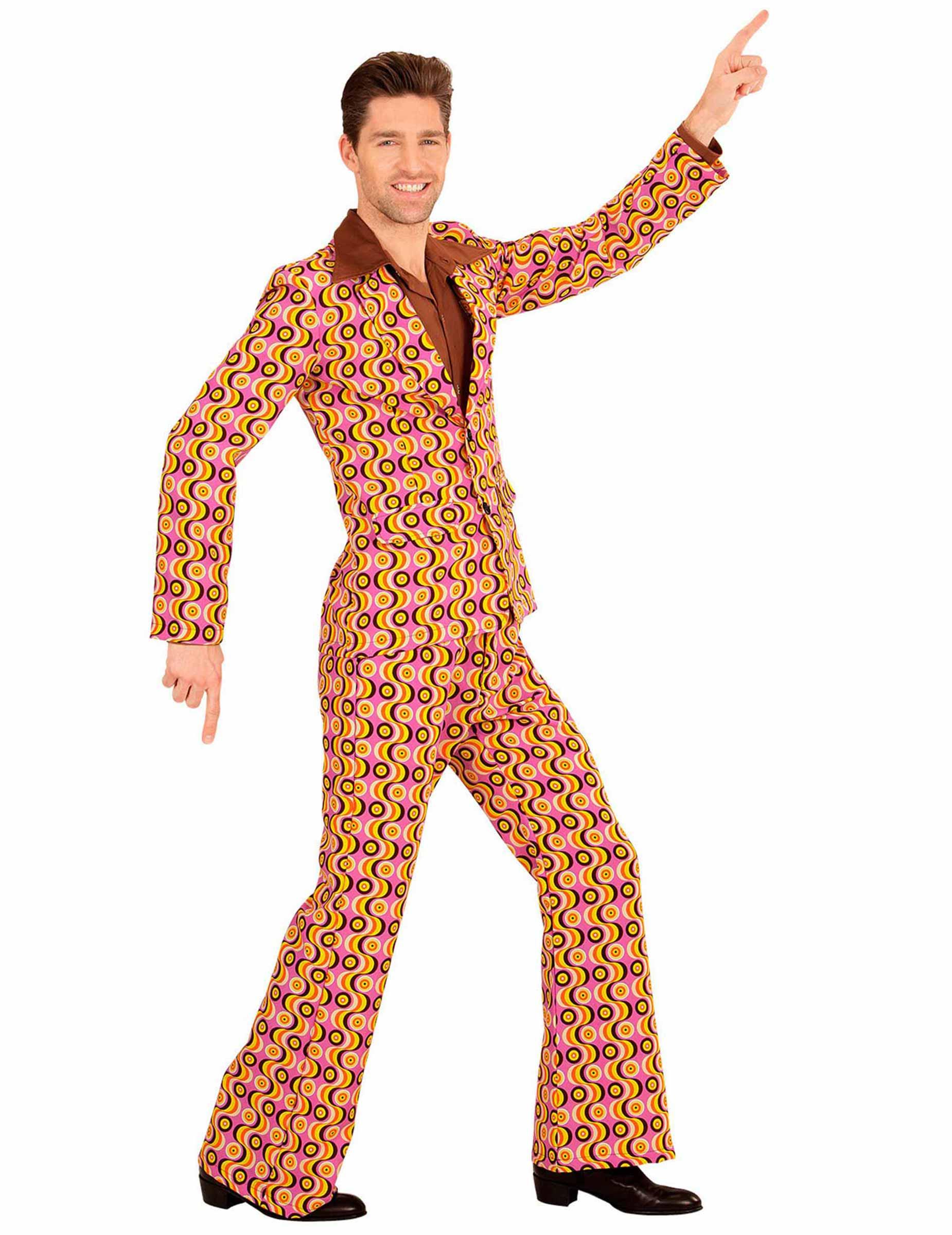 verr ckter 70er jahre anzug disco outfit gelb rosa schwarz kost me f r erwachsene und g nstige. Black Bedroom Furniture Sets. Home Design Ideas