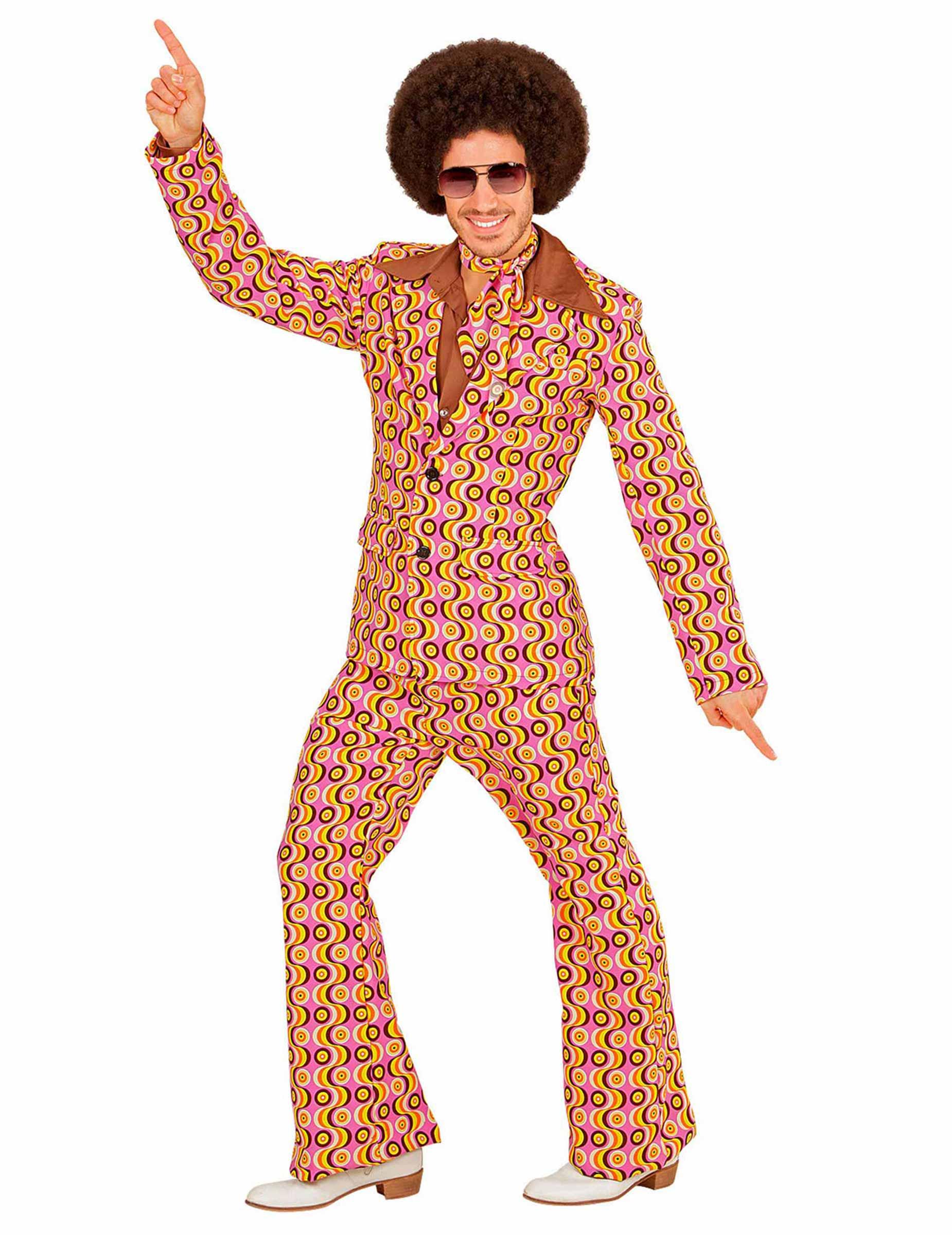 verr ckter 70er jahre anzug disco outfit gelb rosa schwarz. Black Bedroom Furniture Sets. Home Design Ideas