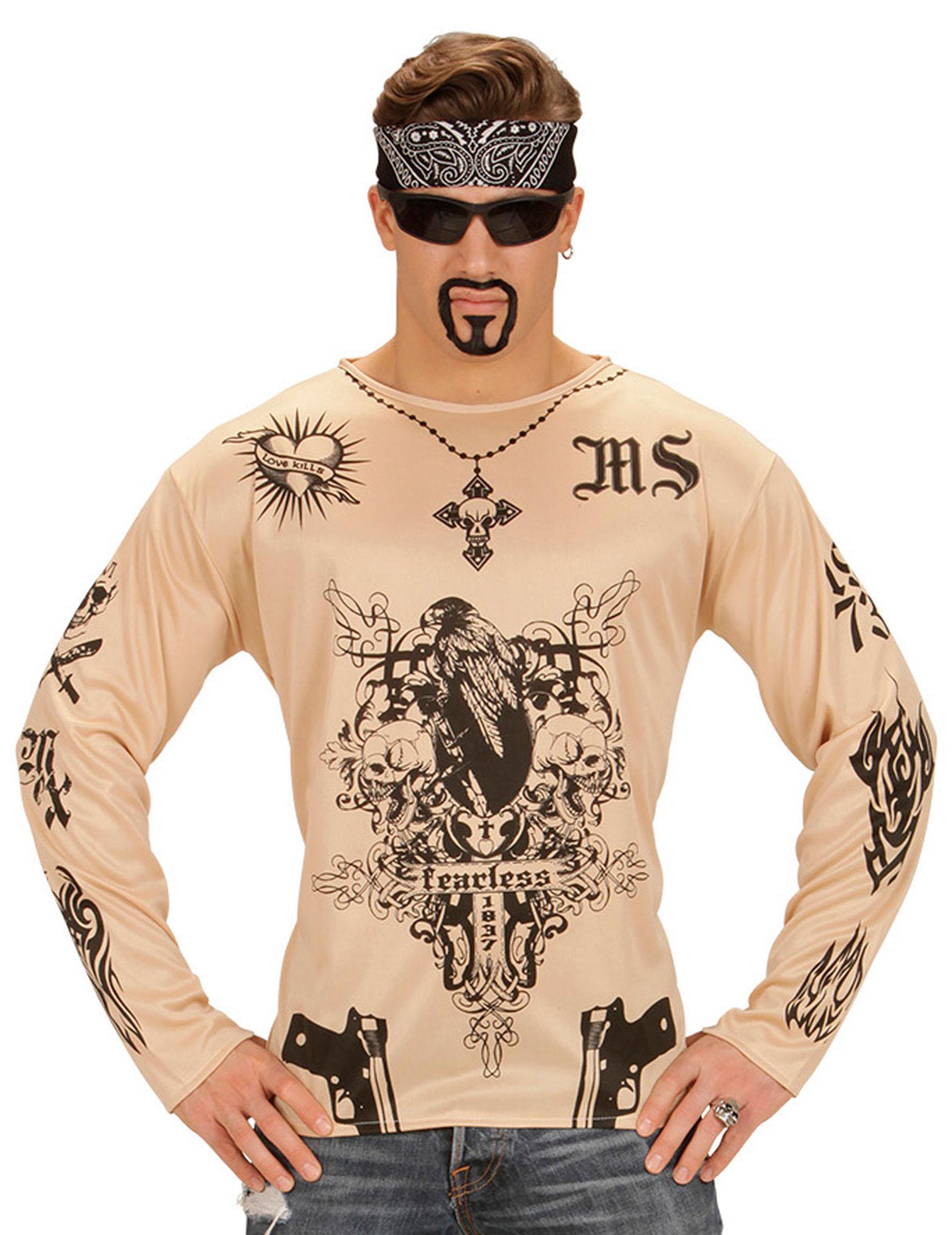 Tattoo Shirt für Erwachsene transparent-schwarz: Kostüme für ...