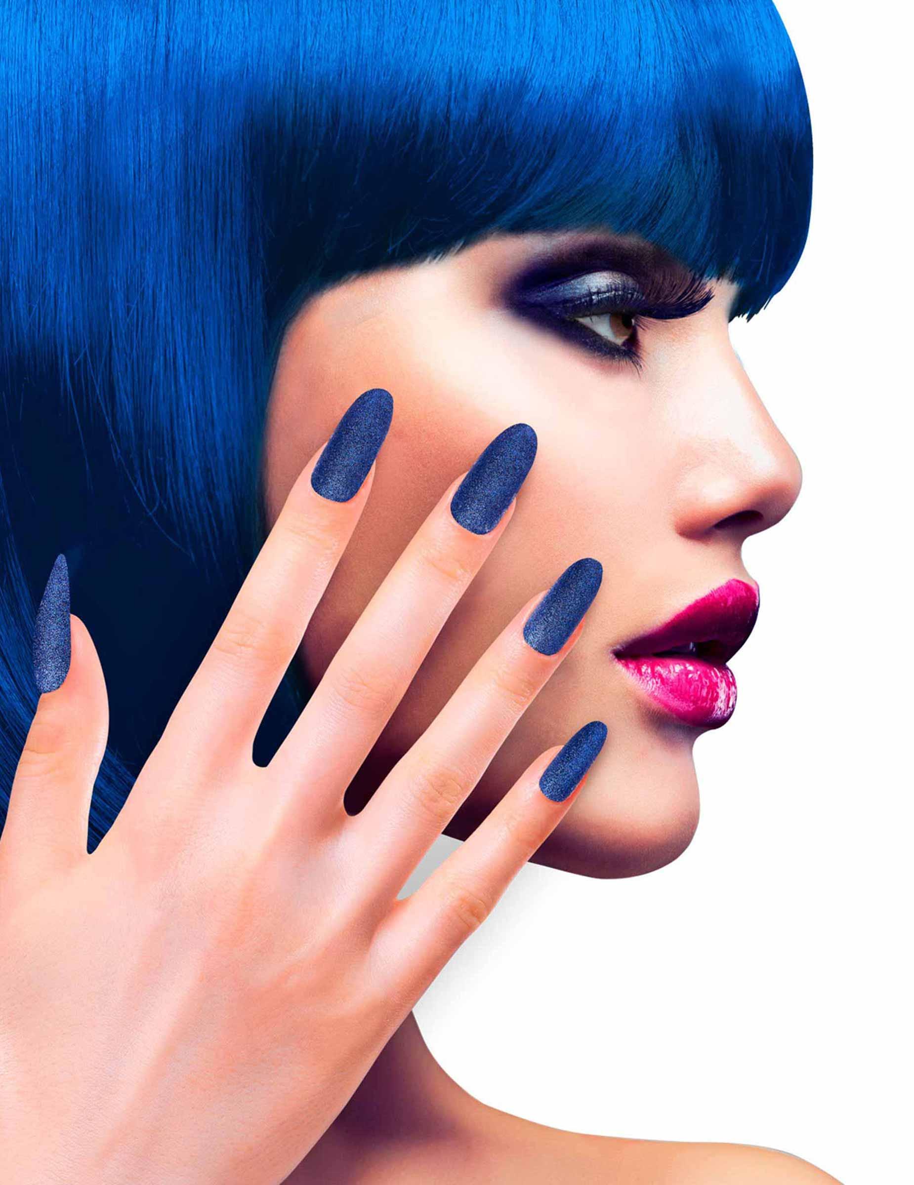 Kunstliche Glitzer Fingernagel Mit Klebstoff Blau Schminke Und