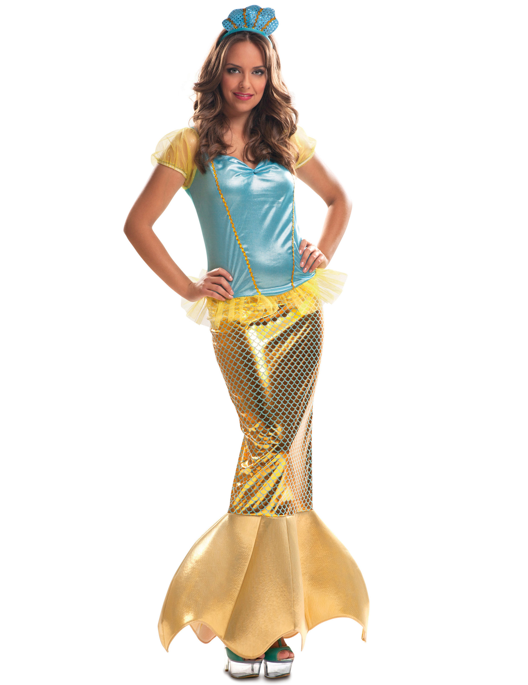 Meerjungfrauen Erwachsenenkostum Gold Kostume Fur Erwachsene Und