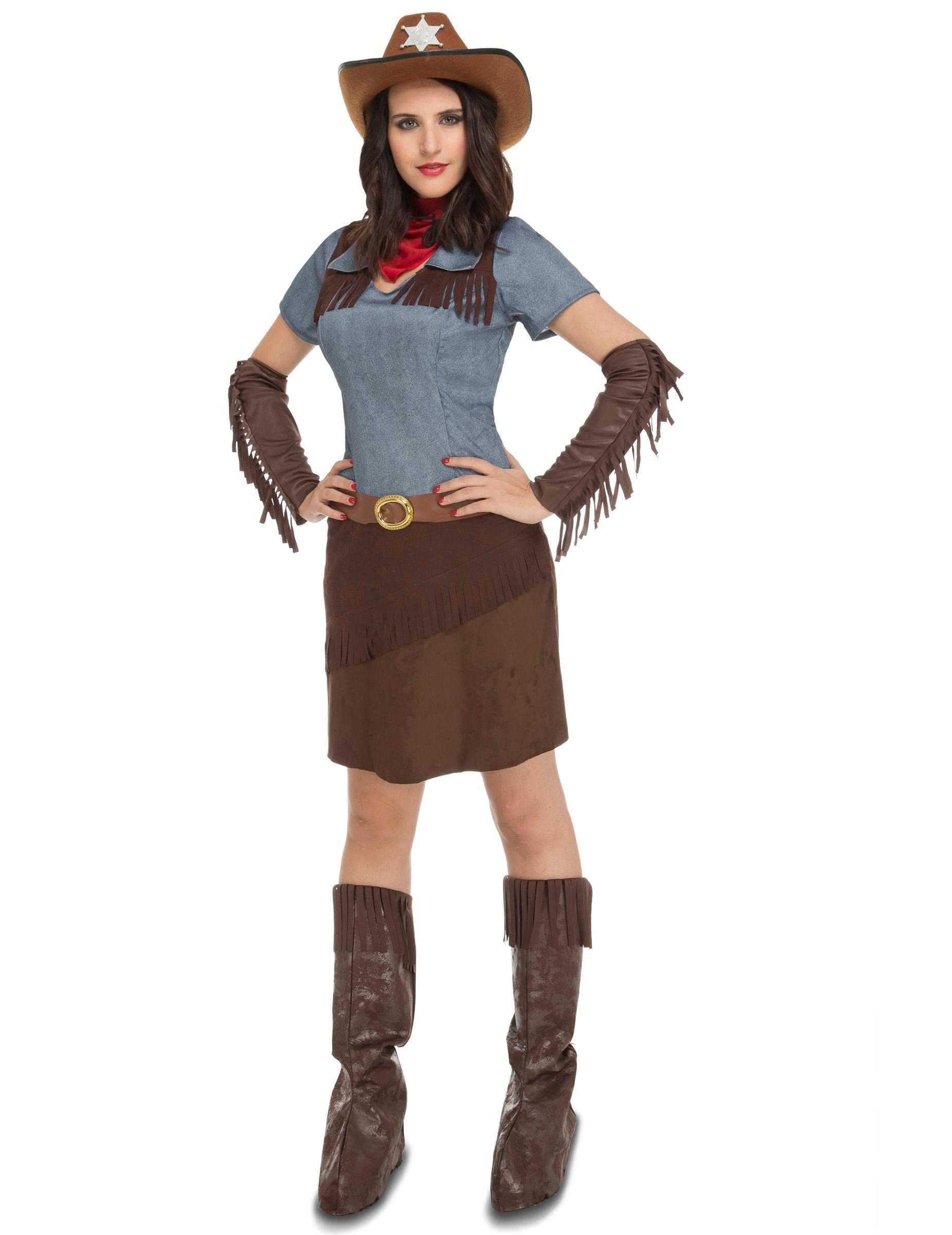 Western Cowgirl Set, braun, schwarz-braun