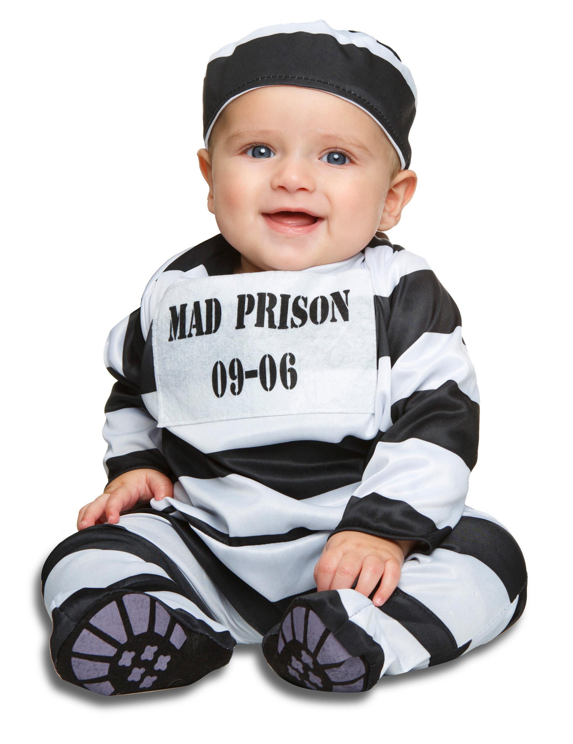 Straeflings Kostuem Fuer Babys Gefangener Schwarz Weiss Kostüme Für