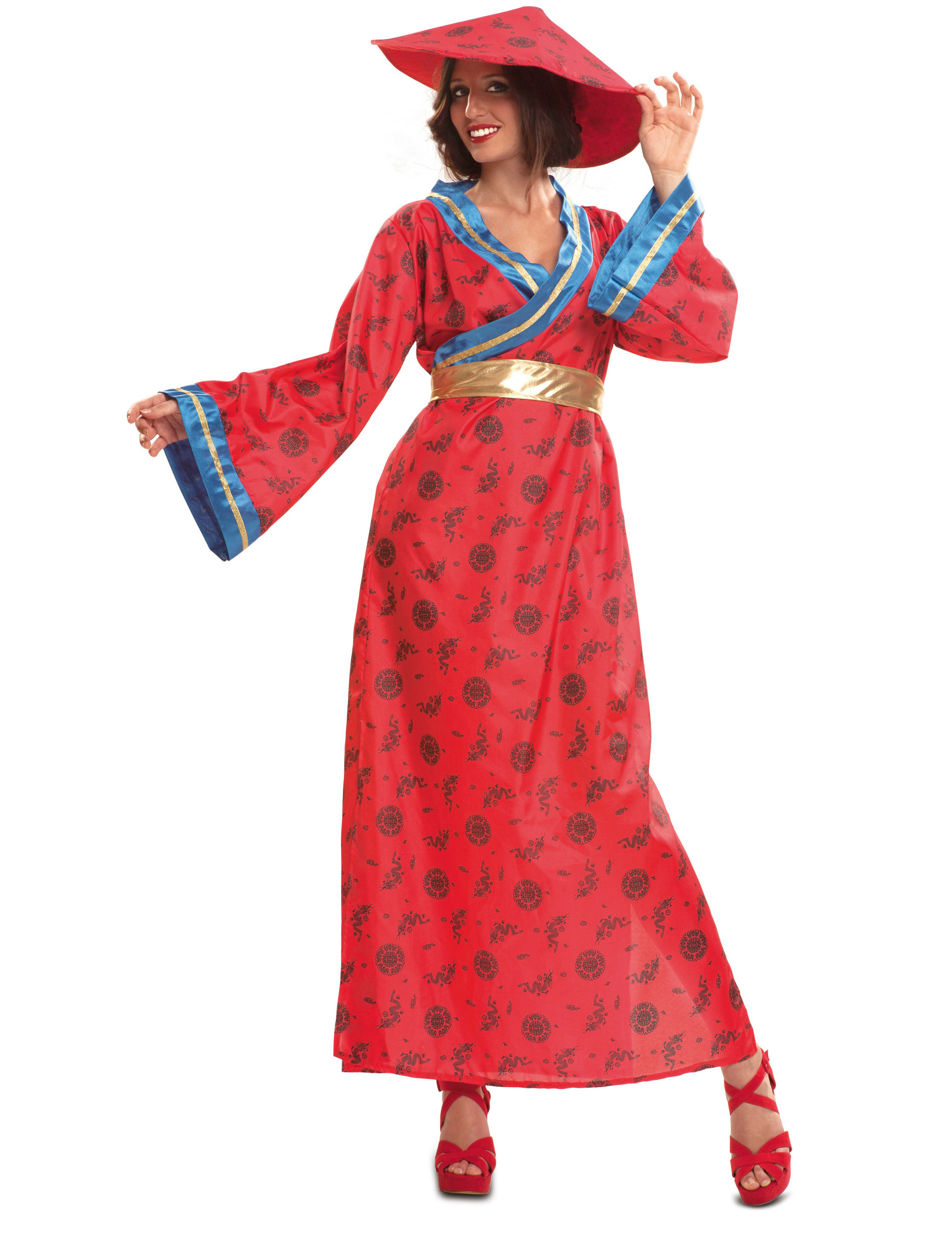 Chinesen kostüm für Damen rot - XXL 272813