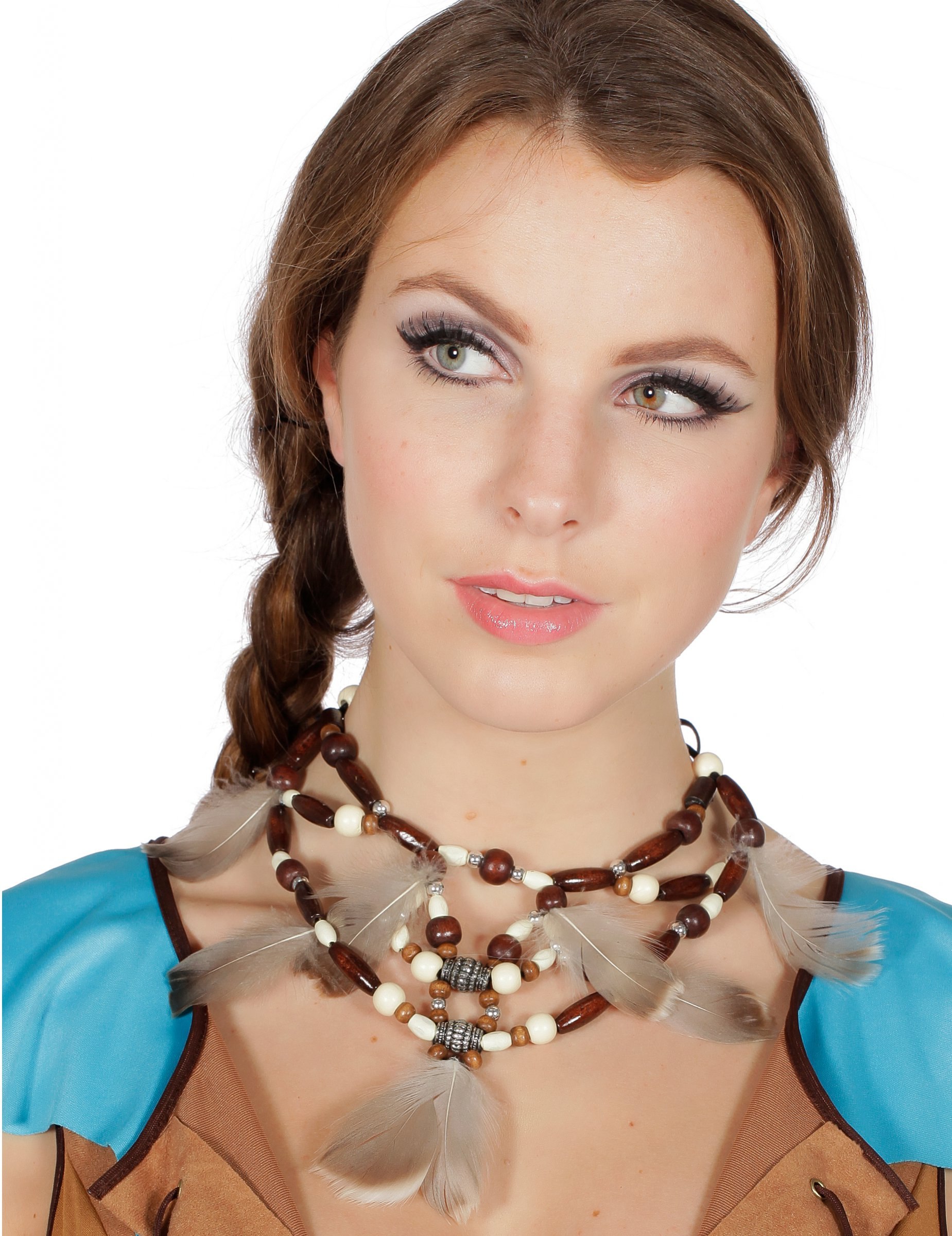 Edle indianer kette mit federn f r damen accessoires und for Edle accessoires