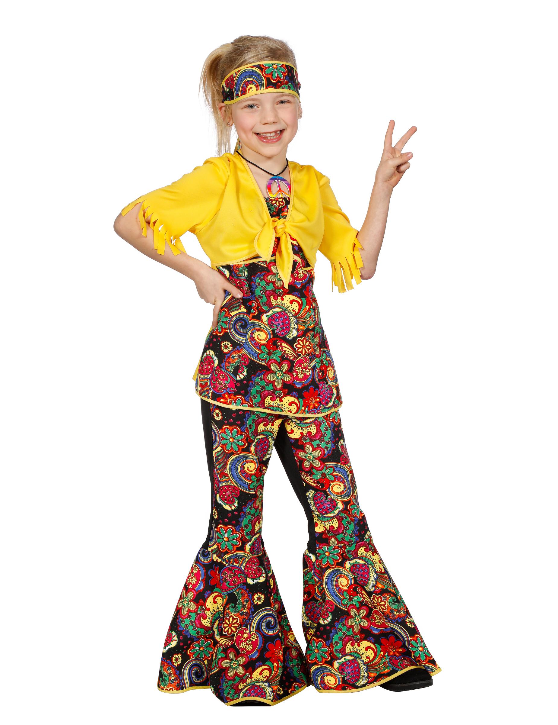 hippie disco kinder kost m gelb bunt kost me f r kinder und g nstige faschingskost me vegaoo. Black Bedroom Furniture Sets. Home Design Ideas
