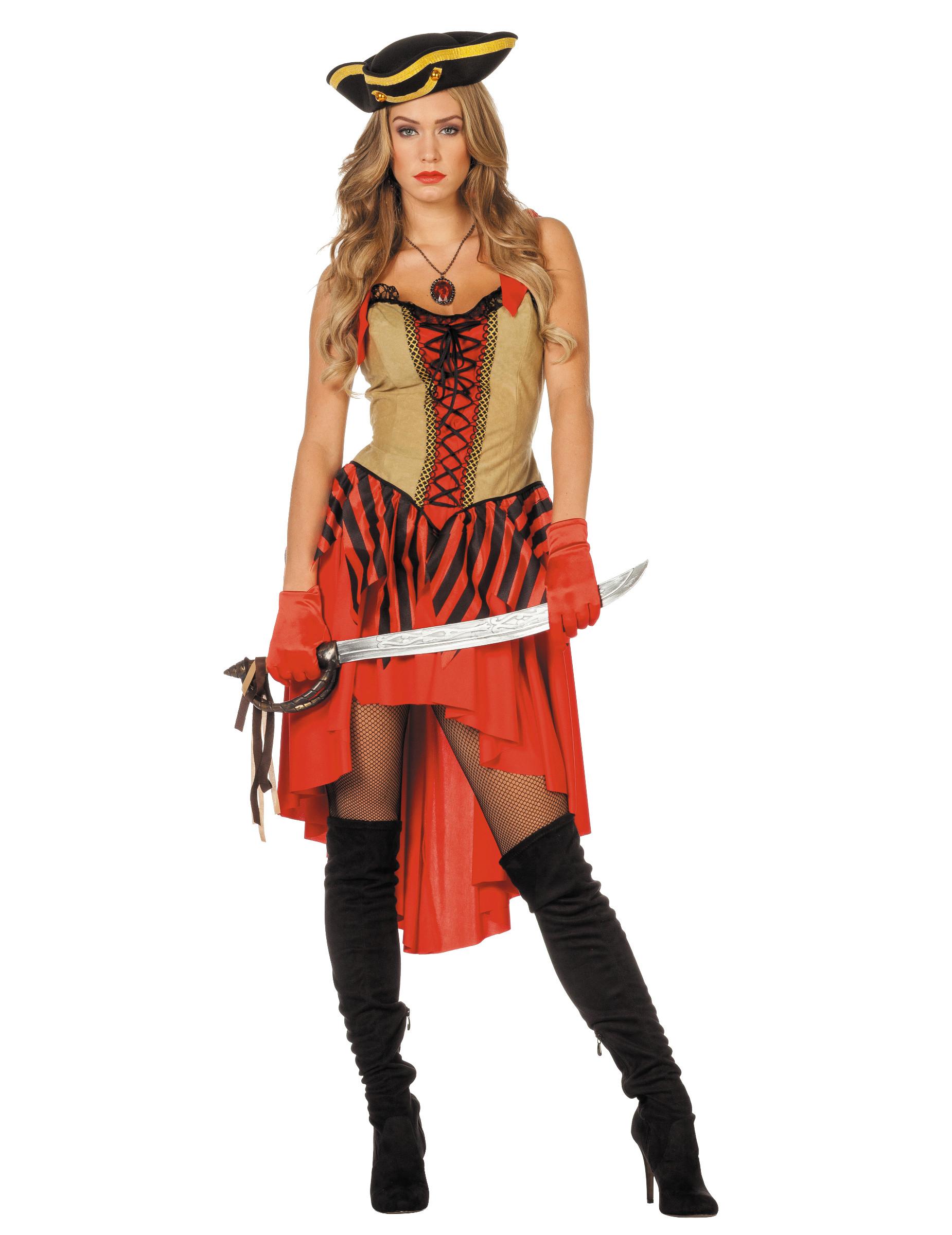Sexy Piratenbraut Kostum Fur Damen Rot Schwarz Beige Kostume Fur