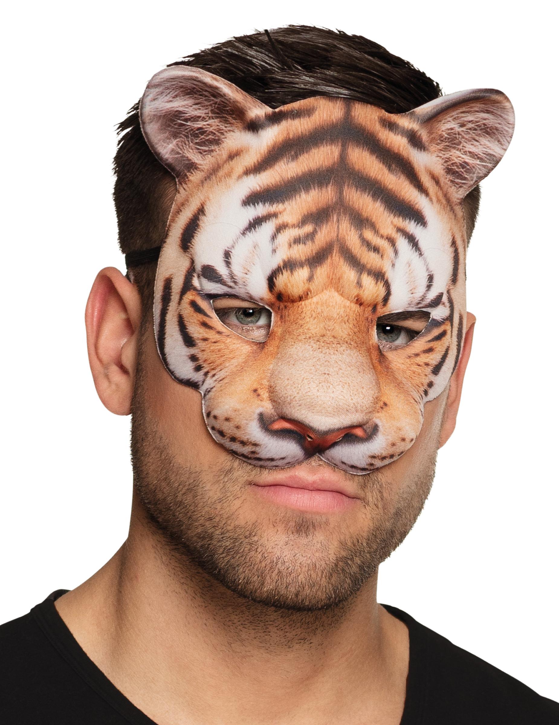 #Tiermaske Tiger für Erwachsene braun#