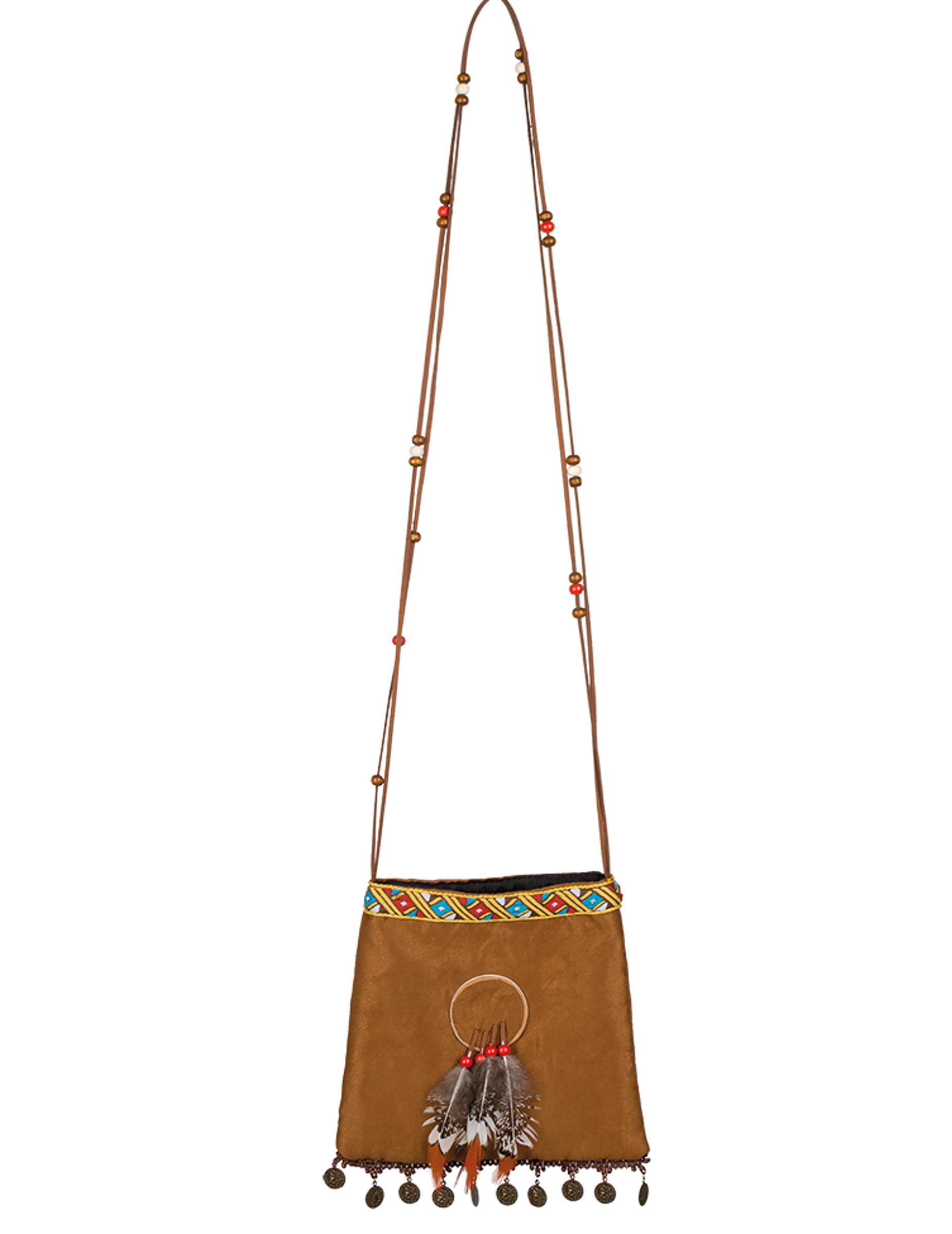 #Indianer-Tasche Kostümaccessoire braun-bunt#